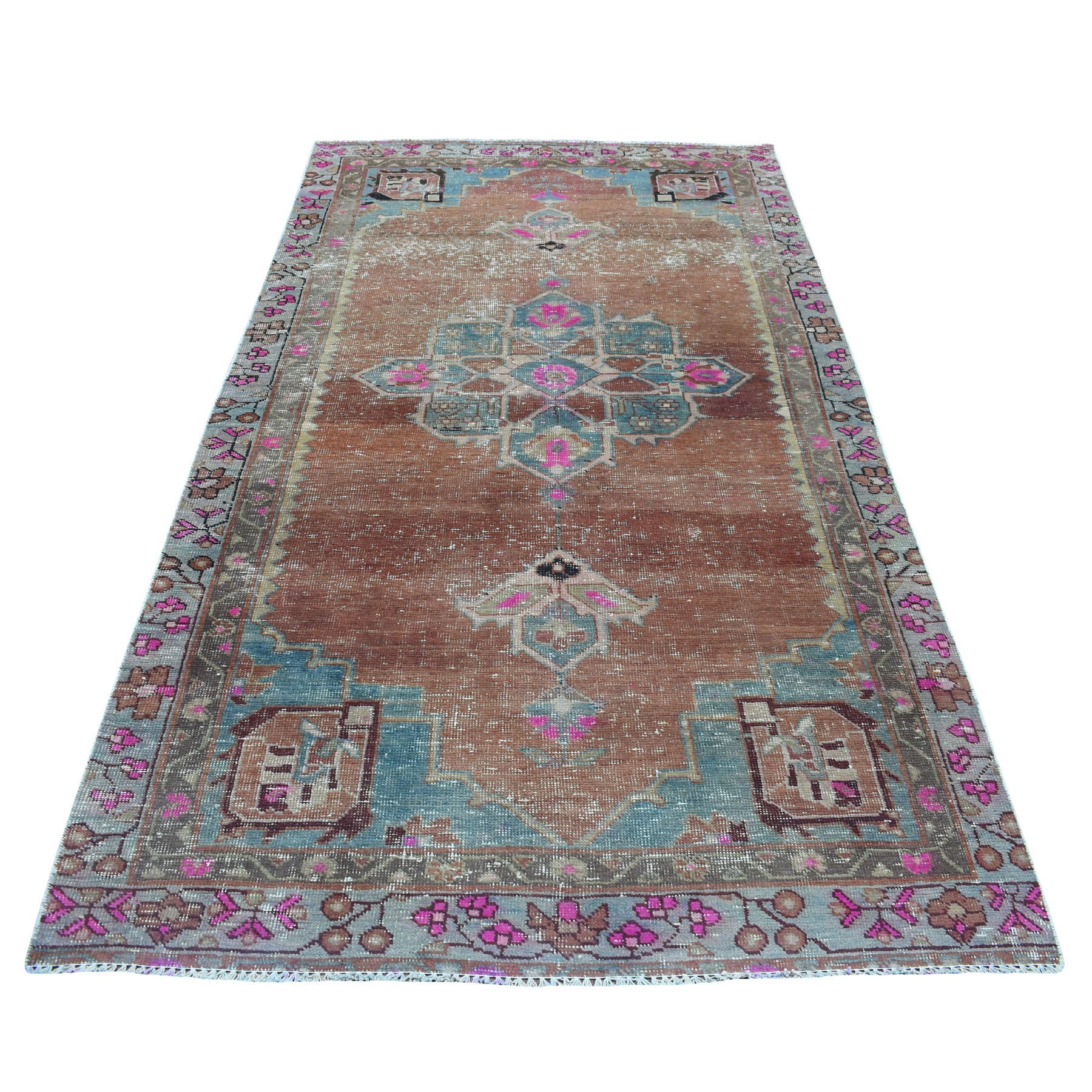 "4'6""X9' Vintage And Worn Down Wide Runner Persian Qashqai Hand Knotted Bohemian Rug moaed0e0"