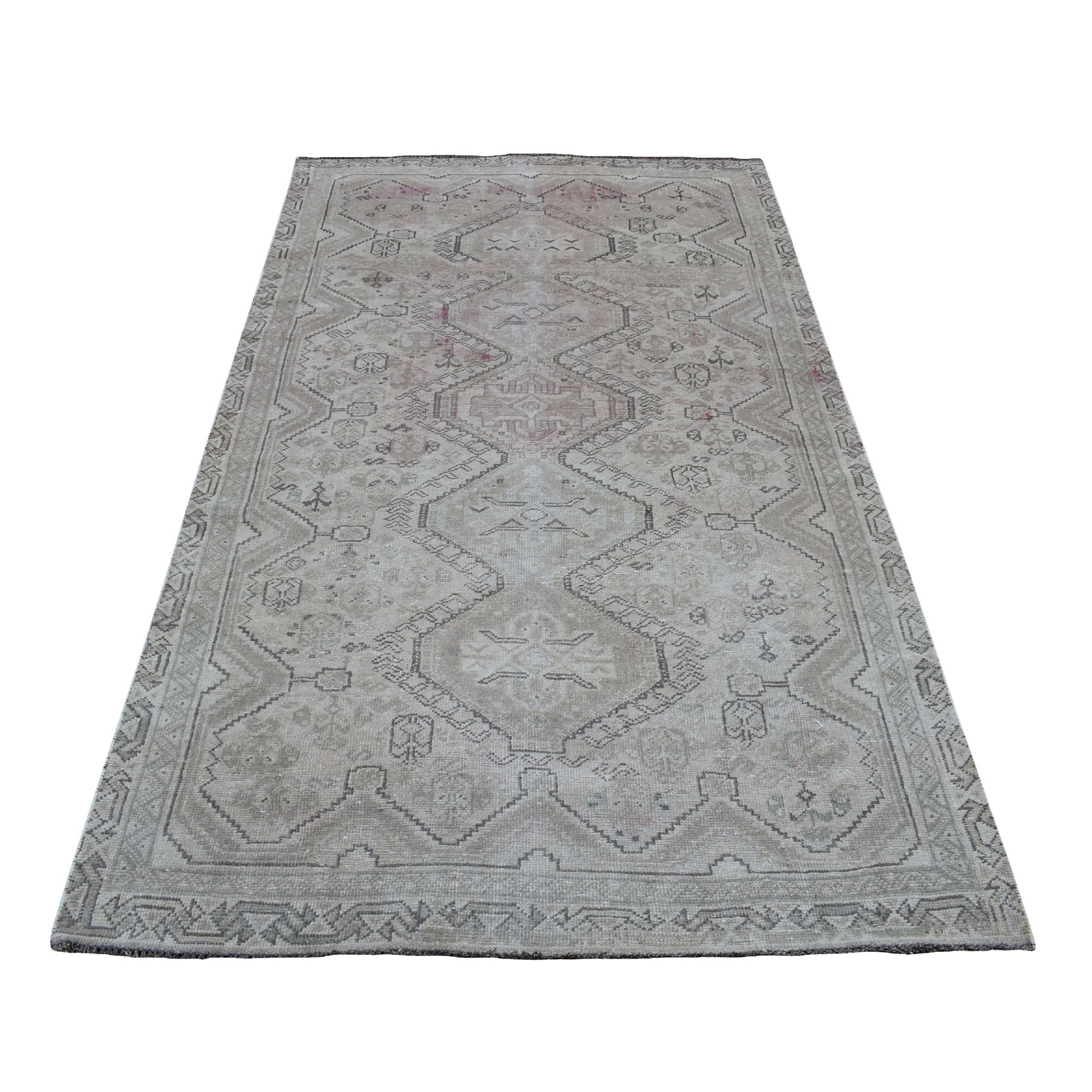 """4'7""""X8' Vintage And Worn Down Distressed Colors Persian Qashqai Hand Knotted Bohemian Rug moaed0ea"""
