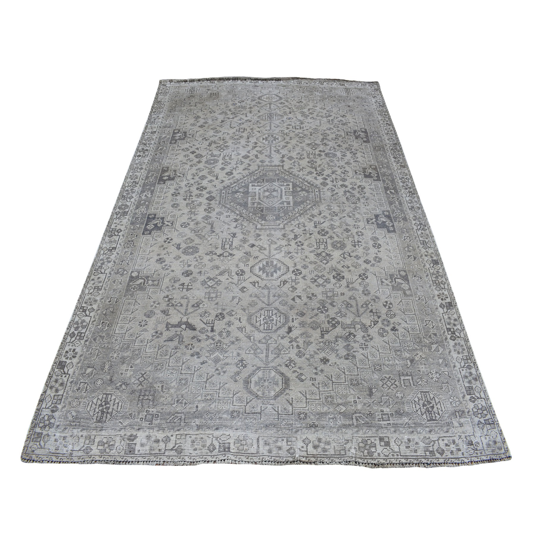 """5'7""""X8'5"""" Vintage And Worn Down Distressed Colors Persian Shiraz Hand Knotted Bohemian Rug moaed0ec"""