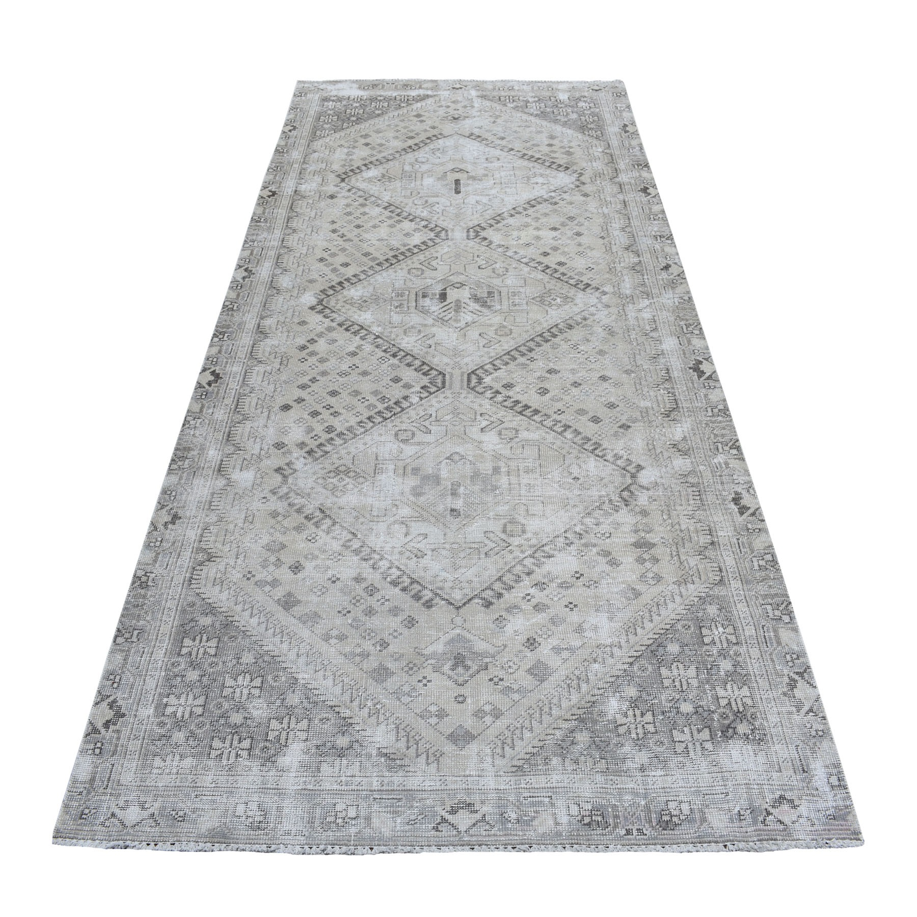 "4'6""X9'8"" Vintage And Worn Down Distressed Colors Wide Runner Persian Qashqai Hand Knotted Bohemian Rug moaed0ed"