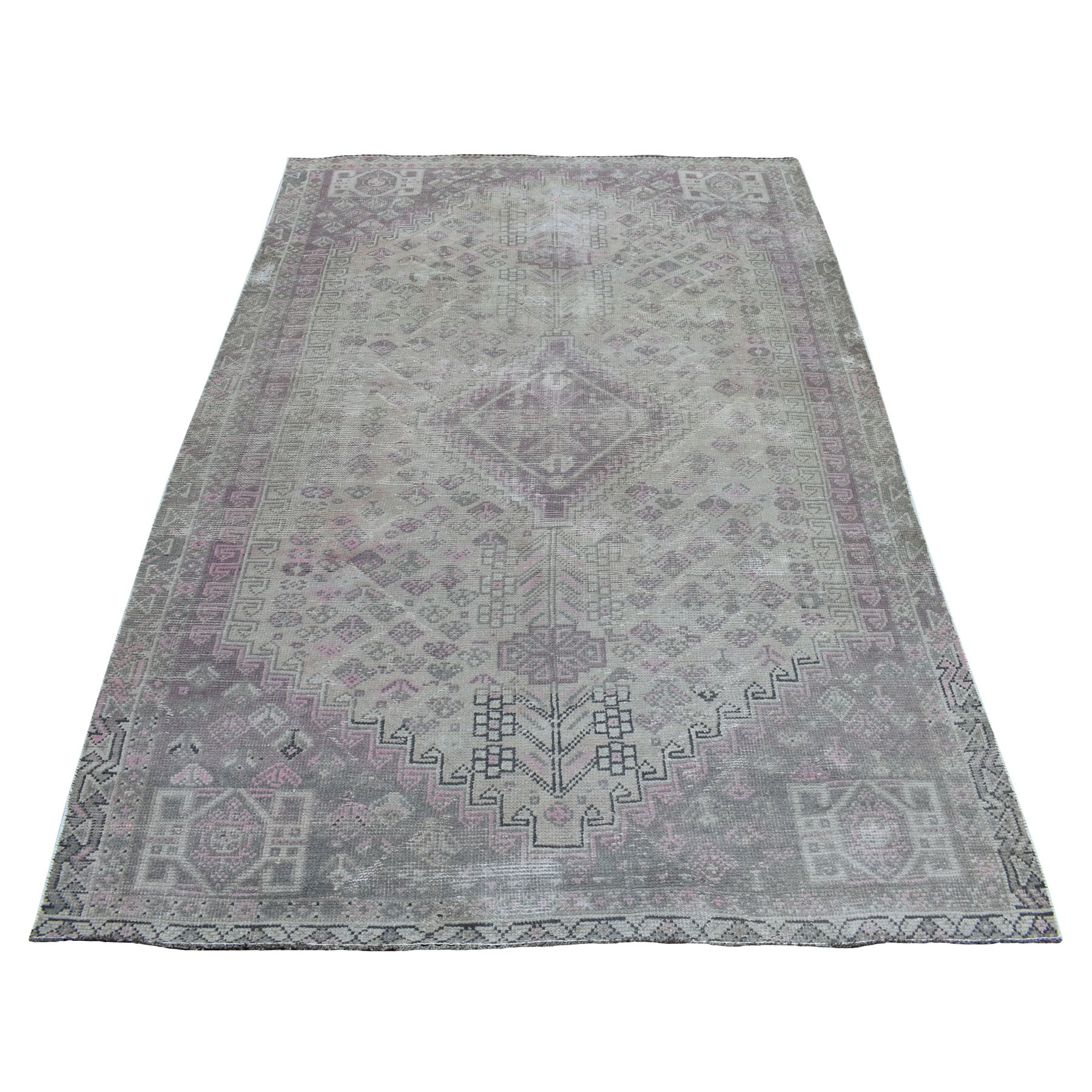 "4'10""X7'4"" Vintage And Worn Down Distressed Colors Persian Shiraz Hand Knotted Bohemian Rug moaed0e6"