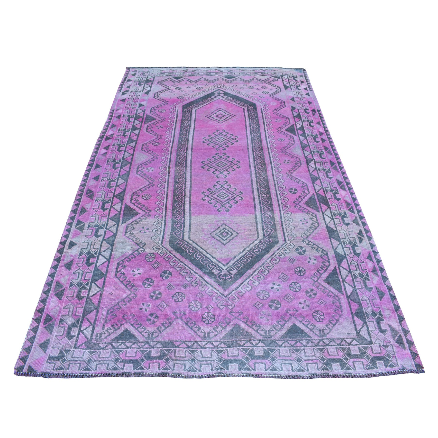"""5'X8'9"""" Pink Vintage And Worn Down Overdyed Persian Shiraz Hand Knotted Bohemian Rug moaed0e7"""