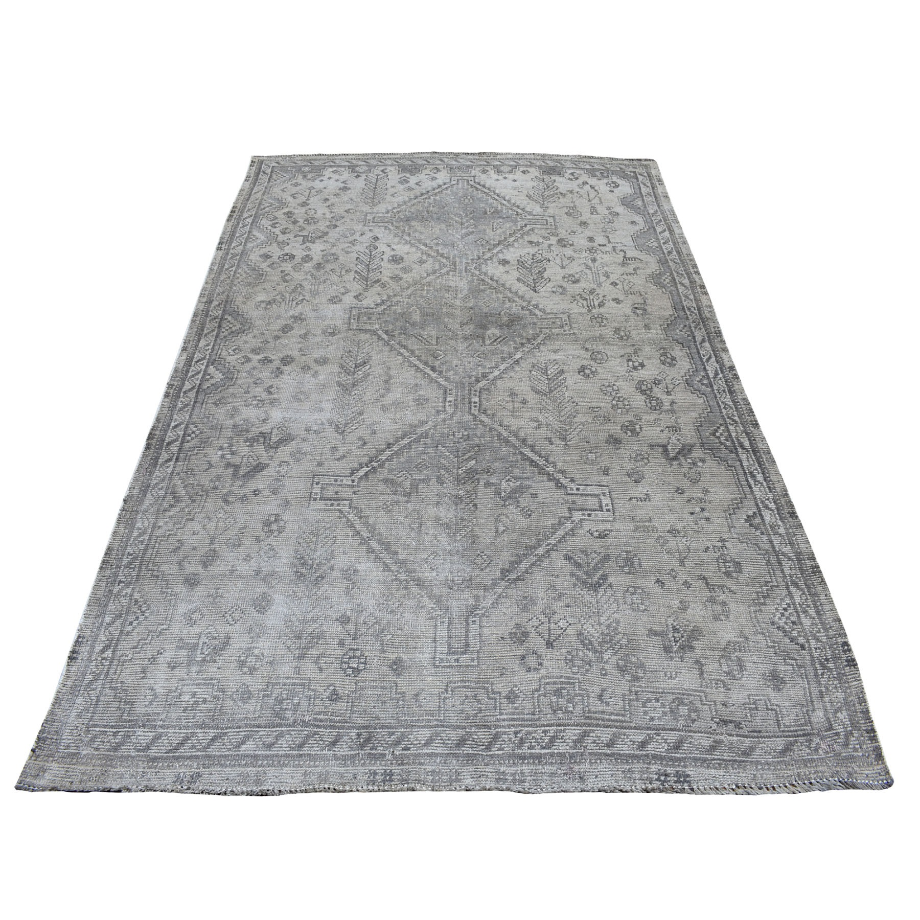 5'X8' Vintage And Worn Down Distressed Colors Persian Qashqai Hand Knotted Bohemian Rug moaed0e8