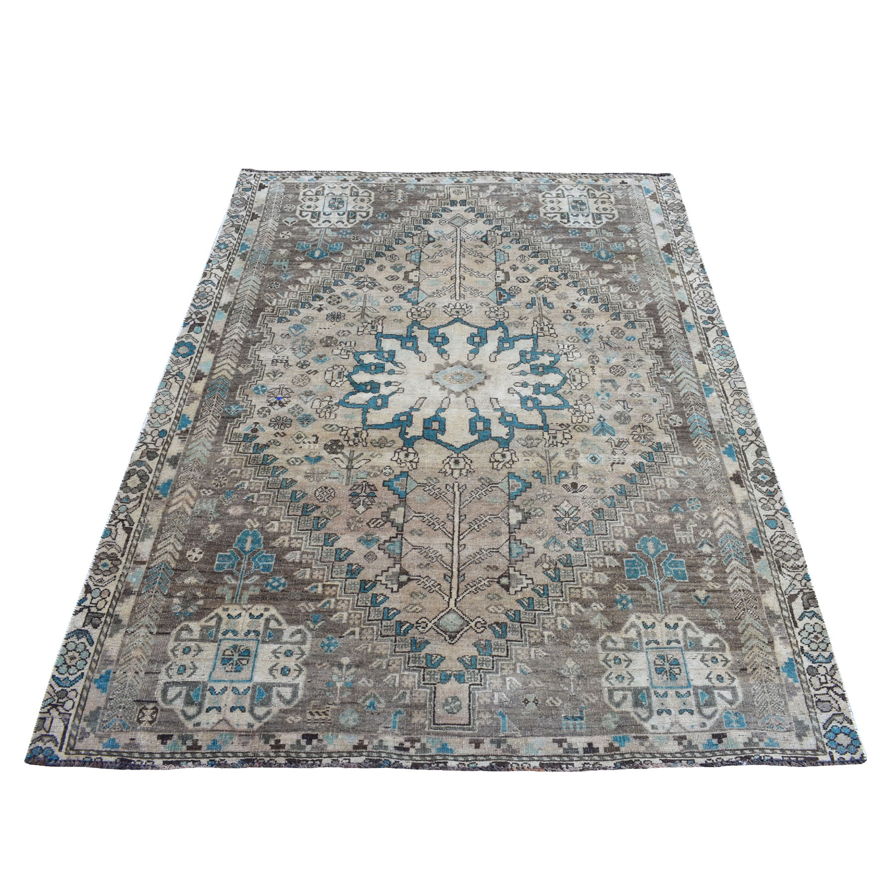 """4'9""""X6'2"""" Vintage And Worn Down Distressed Colors Persian Shiraz Hand Knotted Bohemian Rug moaed0e9"""