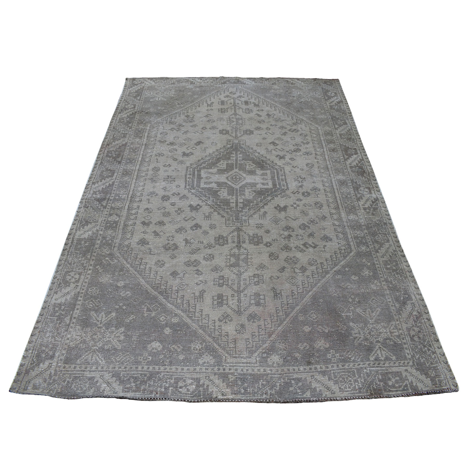 """5'1""""X7'4"""" Vintage And Worn Down Distressed Colors Persian Qashqai Hand Knotted Bohemian Rug moaed060"""