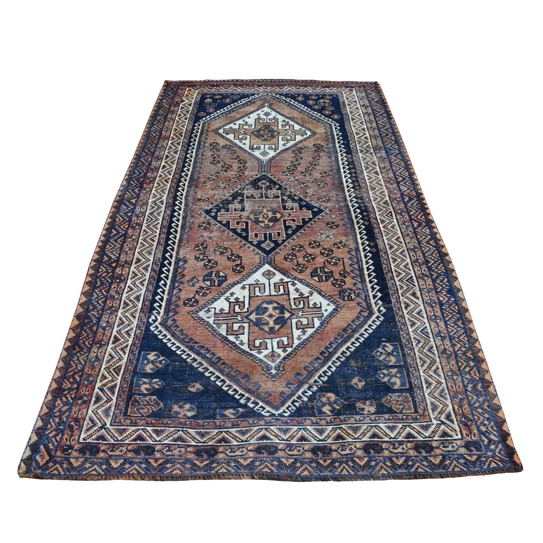 "4'7""X8'5"" Vintage And Worn Down Persian Qashqai Hand Knotted Bohemian Rug moaed06a"
