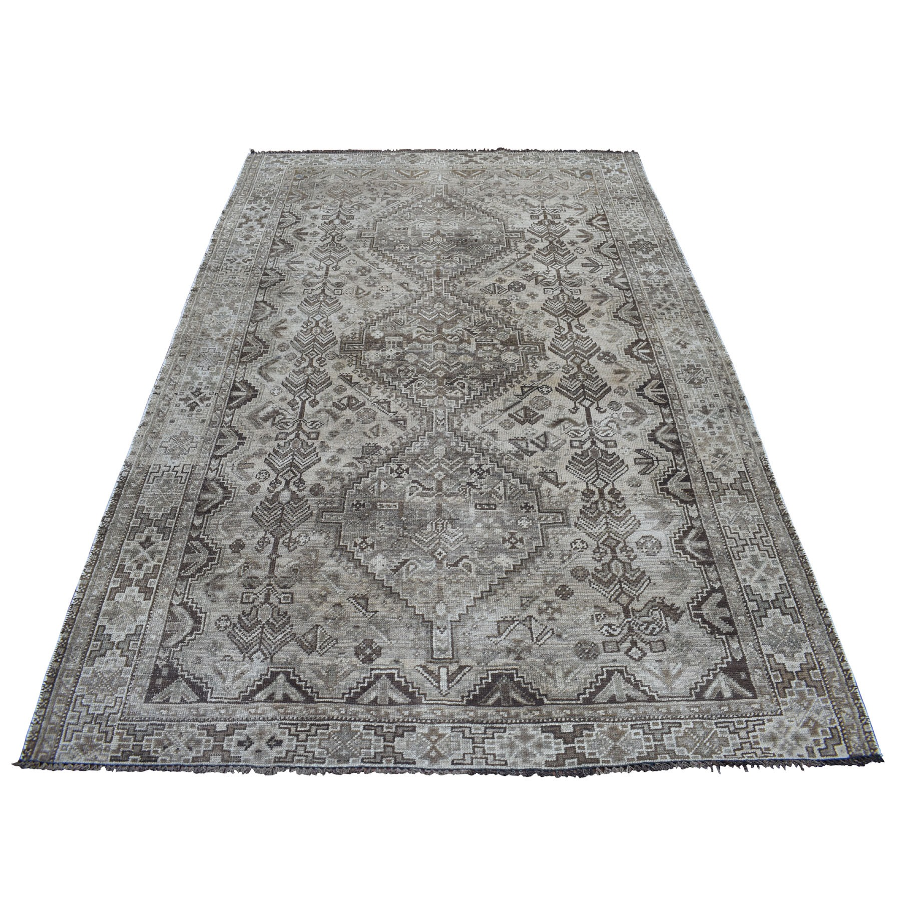 "5'8""x8'  Vintage And Worn Down Distressed Colors Persian Qashqai Hand Knotted Bohemian Rug 54063"
