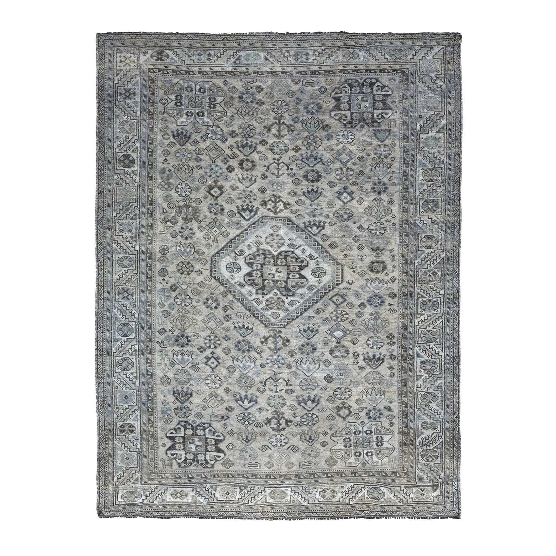 7'X10' Vintage And Worn Down Distressed Colors Persian Qashqai Hand Knotted Bohemian Rug moaed06e