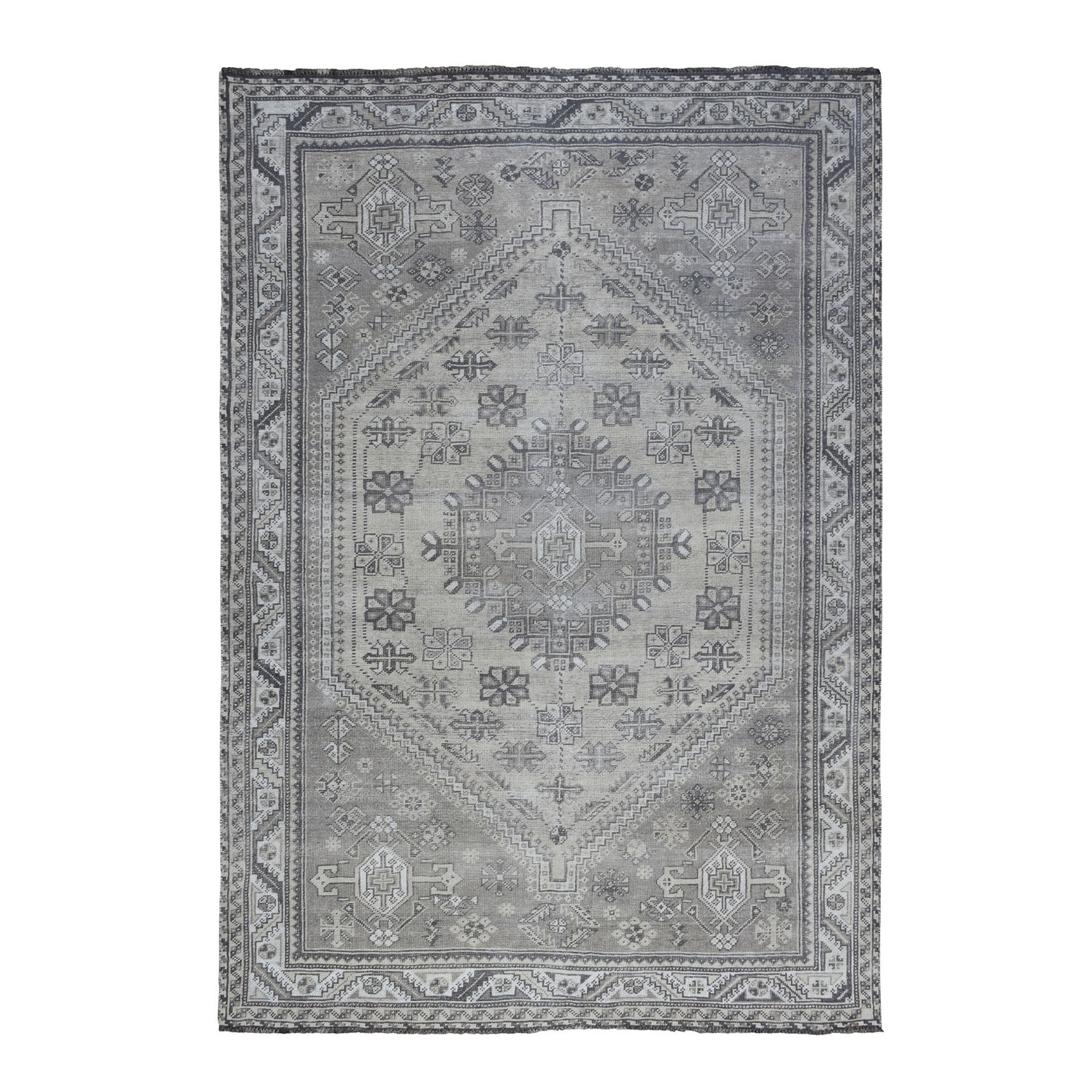 """6'7""""X9'4"""" Vintage And Worn Down Distressed Colors Persian Qashqai Hand Knotted Bohemian Rug moaed067"""