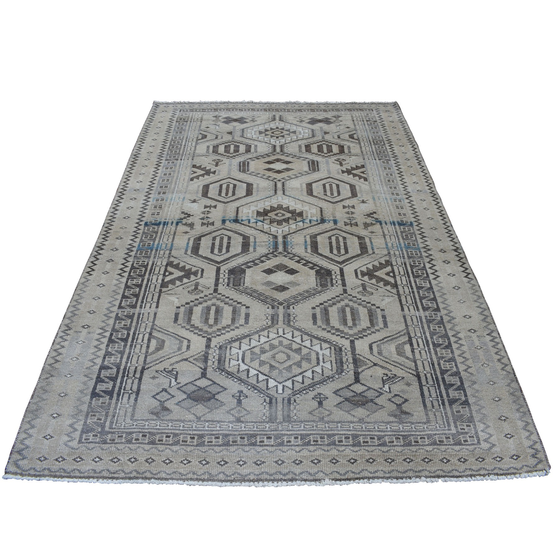 """5'5""""X8'4""""  Vintage And Worn Down Distressed Colors Persian Shiraz Hand Knotted Bohemian Rug moaed068"""