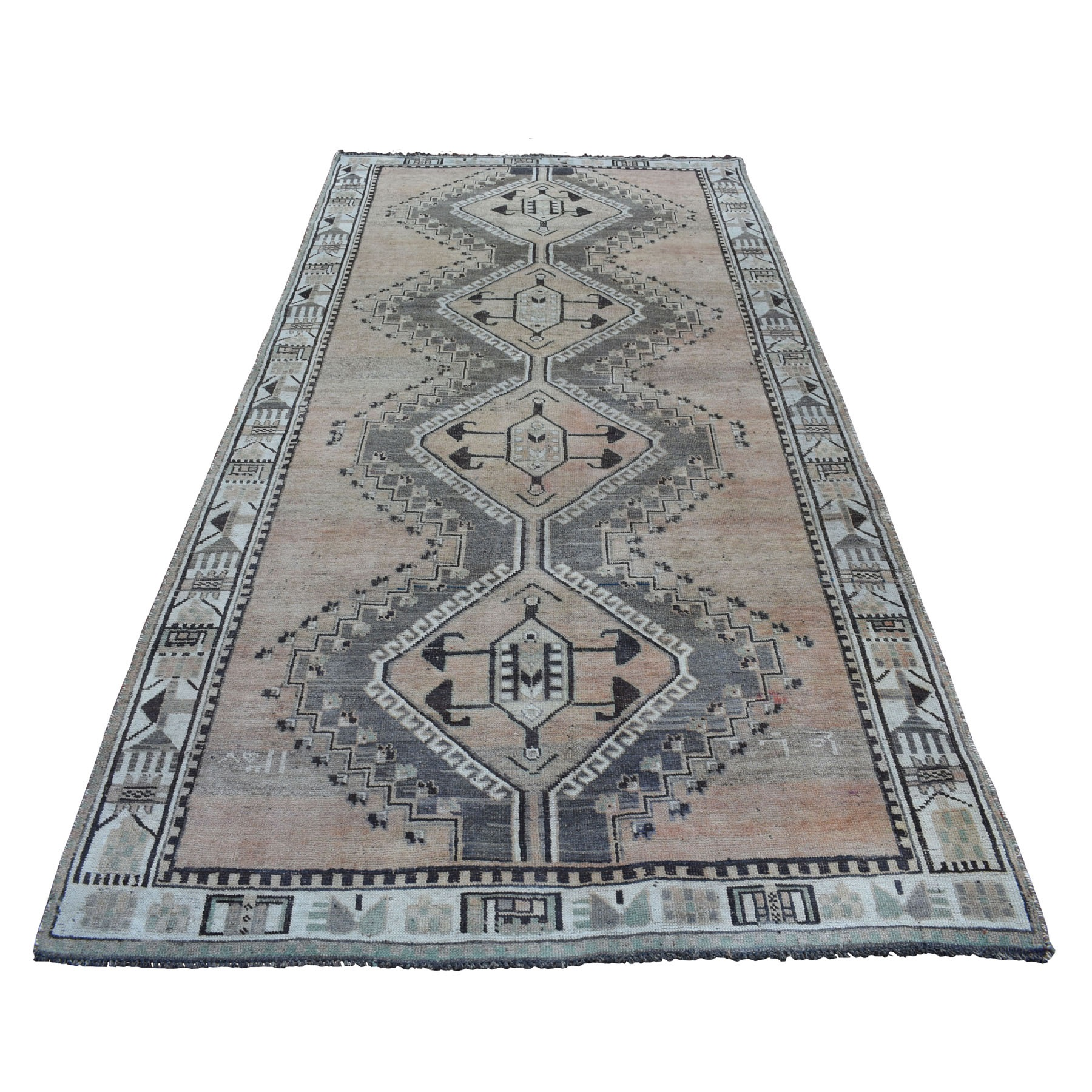 5'X10' Vintage And Worn Down Distressed Colors Persian Qashqai Wide Runner Hand Knotted Bohemian Rug moaed07a