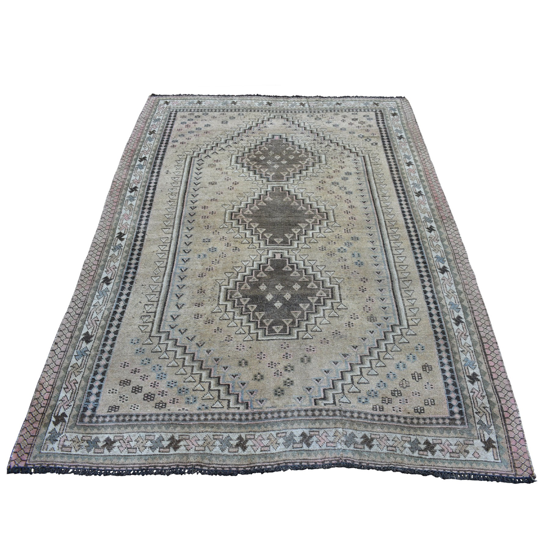 """5'2""""X7'2"""" Vintage And Worn Down Distressed Colors Persian Shiraz Hand Knotted Bohemian Rug moaed07b"""