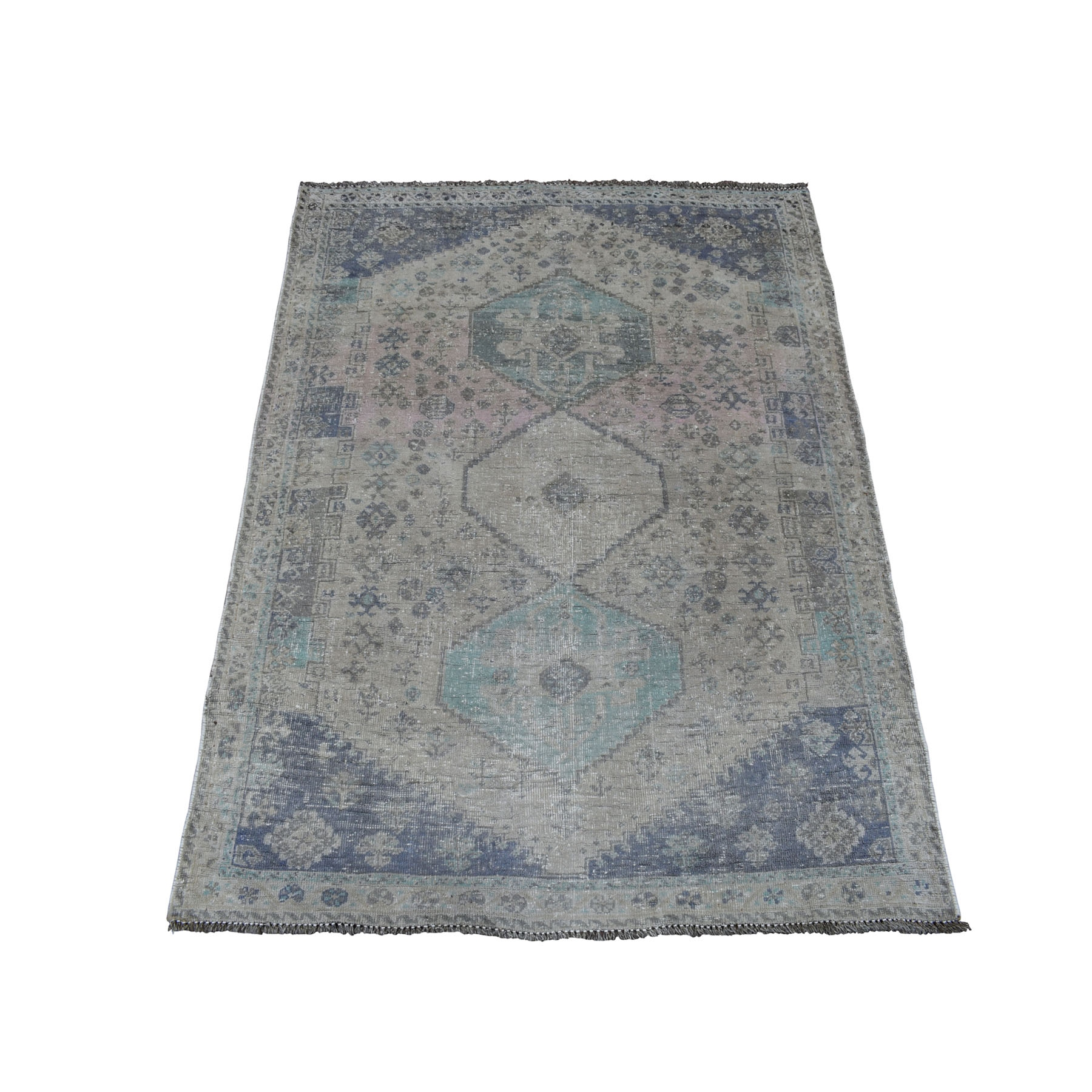 "3'8""X4'7"" Vintage And Worn Down Distressed Colors Persian Qashqai Hand Knotted Bohemian Rug moaed07c"