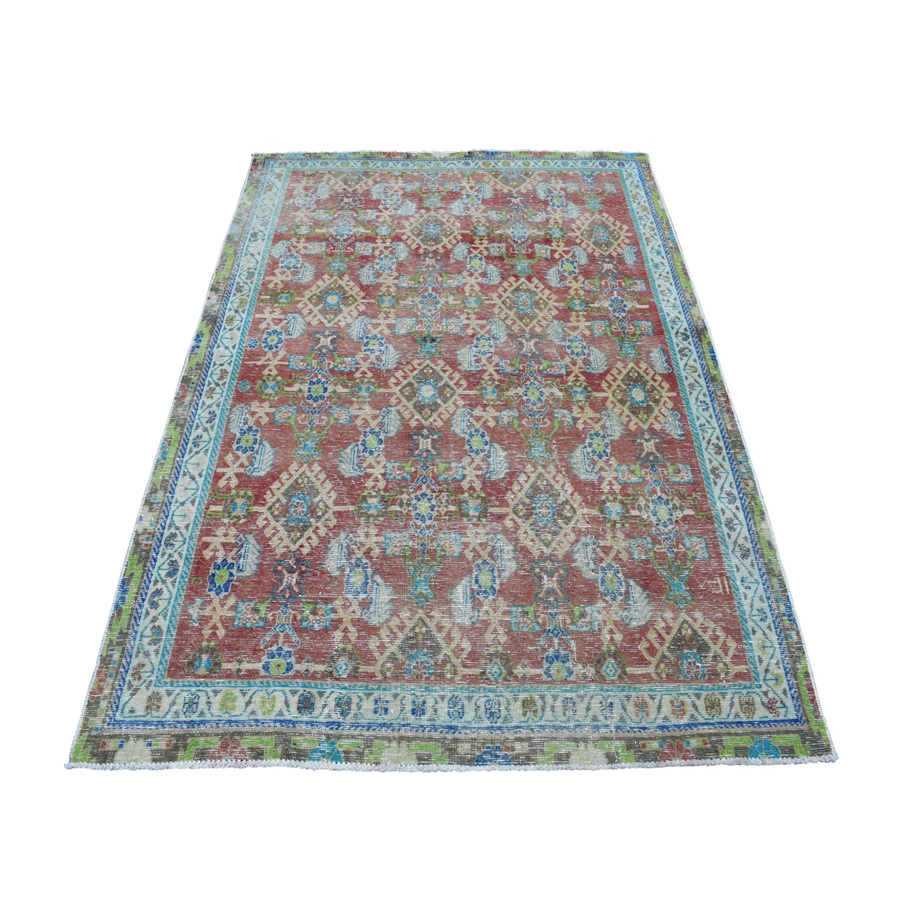 "4'2""X6'6"" Vintage And Worn Down Persian Qashqai Hand Knotted Bohemian Rug moaed07d"