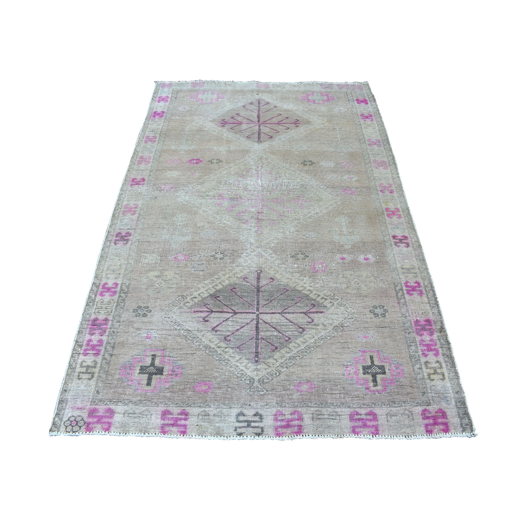 "4'4""X7'2"" Vintage And Worn Down Distressed Colors Persian Shiraz Hand Knotted Bohemian Rug moaed07e"