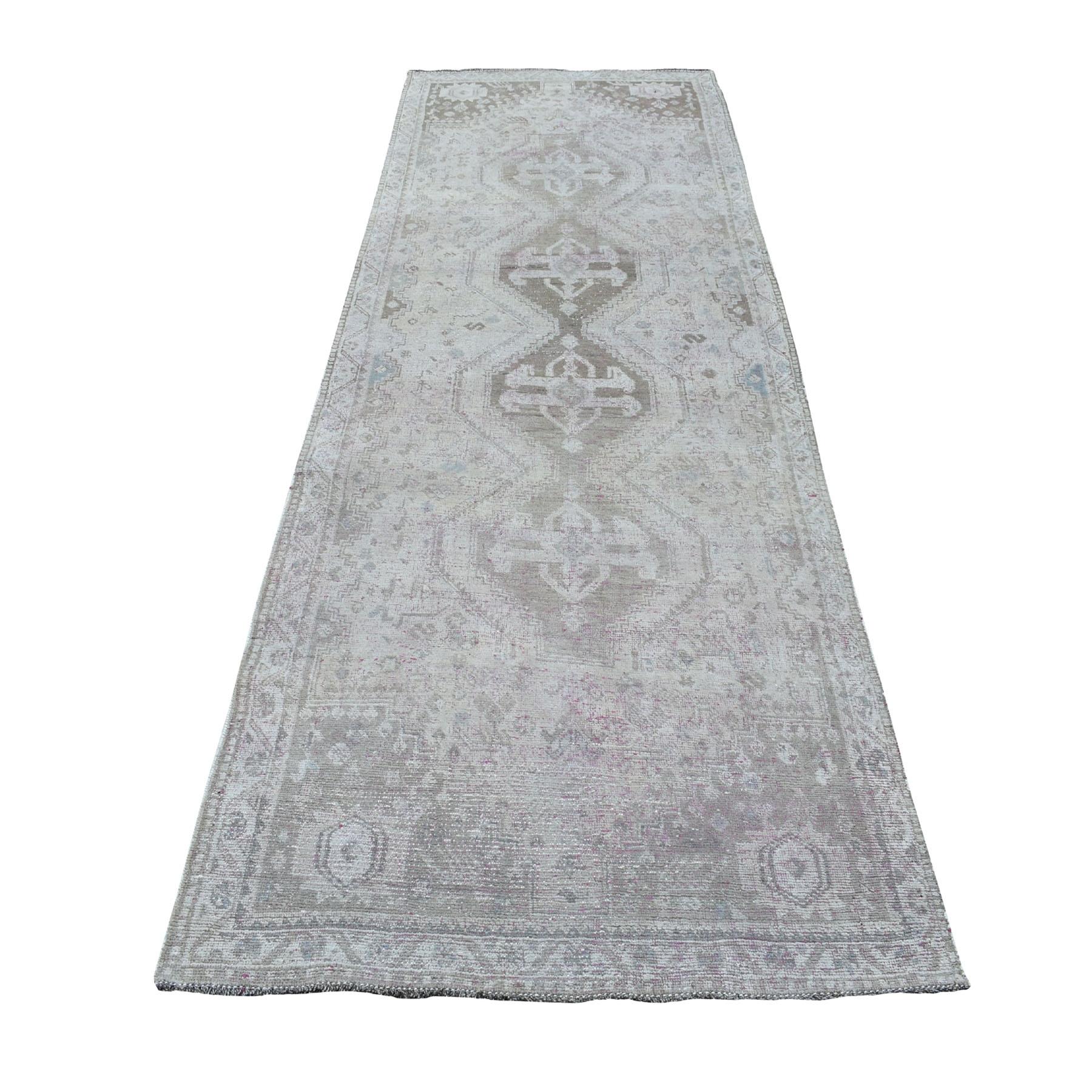 4'X11' Vintage And Worn Down Distressed Colors Persian Shiraz Wide Runner Hand Knotted Bohemian Rug moaed078