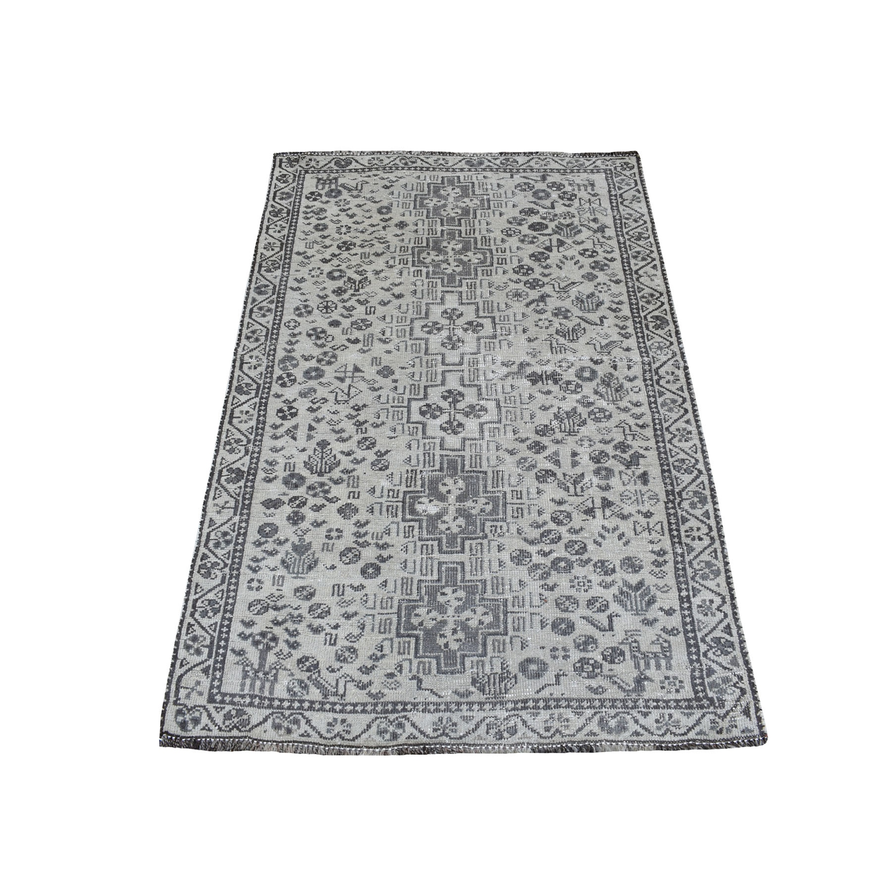 """3'4""""x4'9"""" Vintage And Worn Down Distressed Colors Persian Shiraz Hand Knotted Bohemian Rug 54080"""