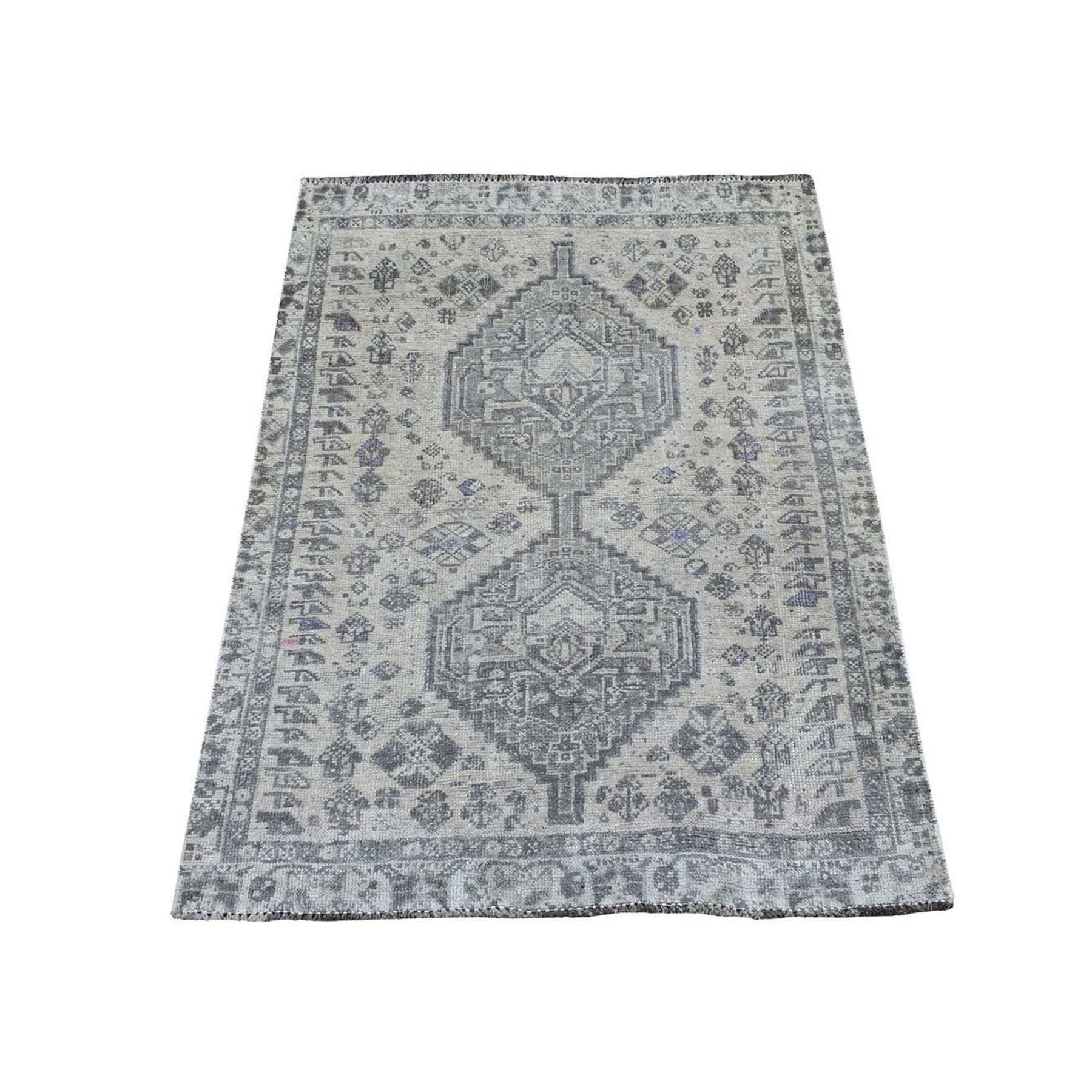 "3'X3'10"" Vintage And Worn Down Distressed Colors Persian Shiraz Hand Knotted Bohemian Rug moaed08d"