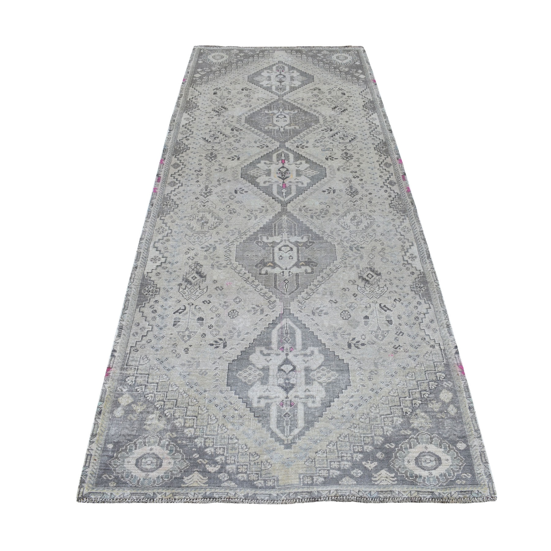 "3'8""X9' Vintage And Worn Down Distressed Colors Persian Qashqai Wide Runner Hand Knotted Bohemian Rug moaed086"