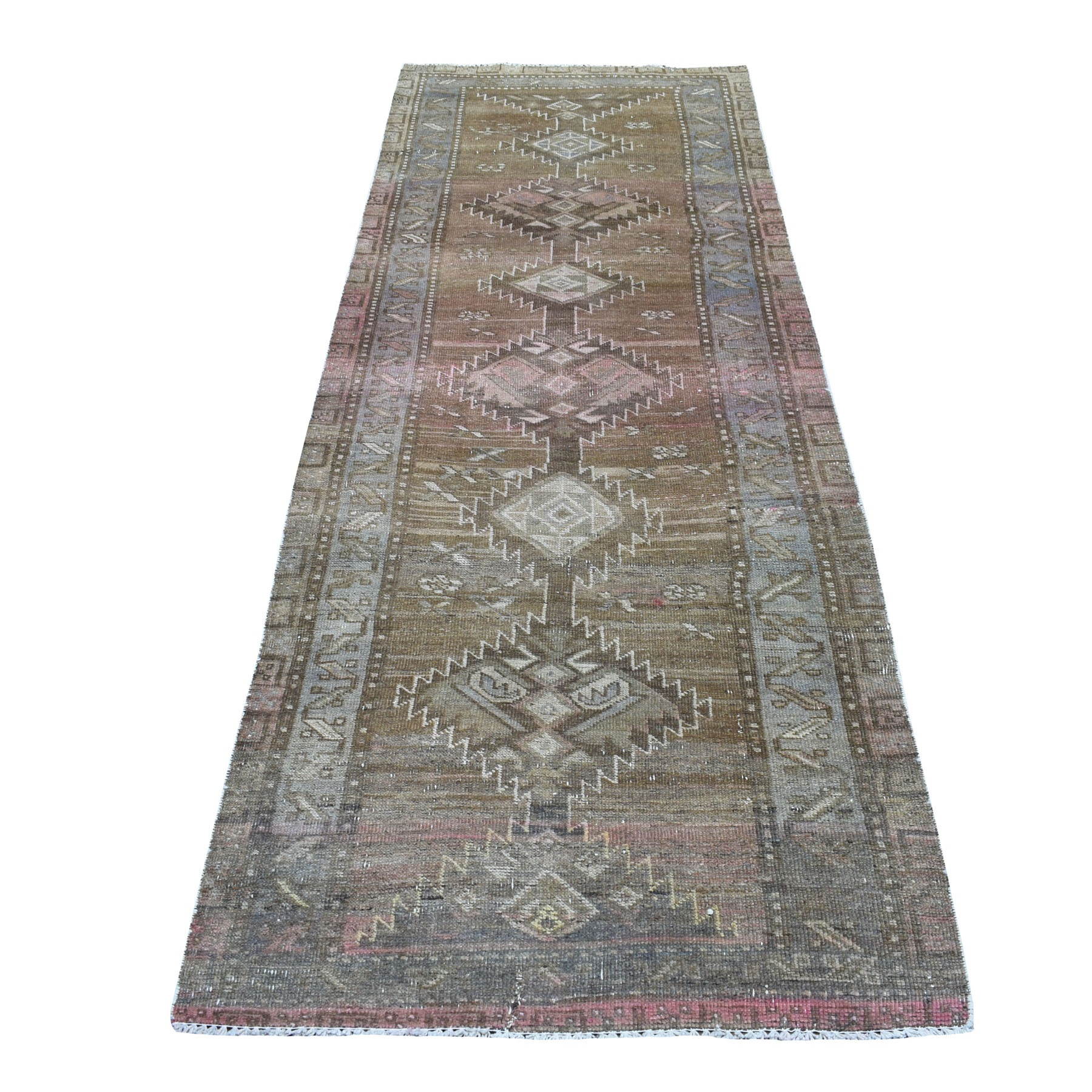 """3'3""""X9'8""""  Vintage And Worn Down Persian Shiraz Wide Runner Hand Knotted Bohemian Rug moaed087"""