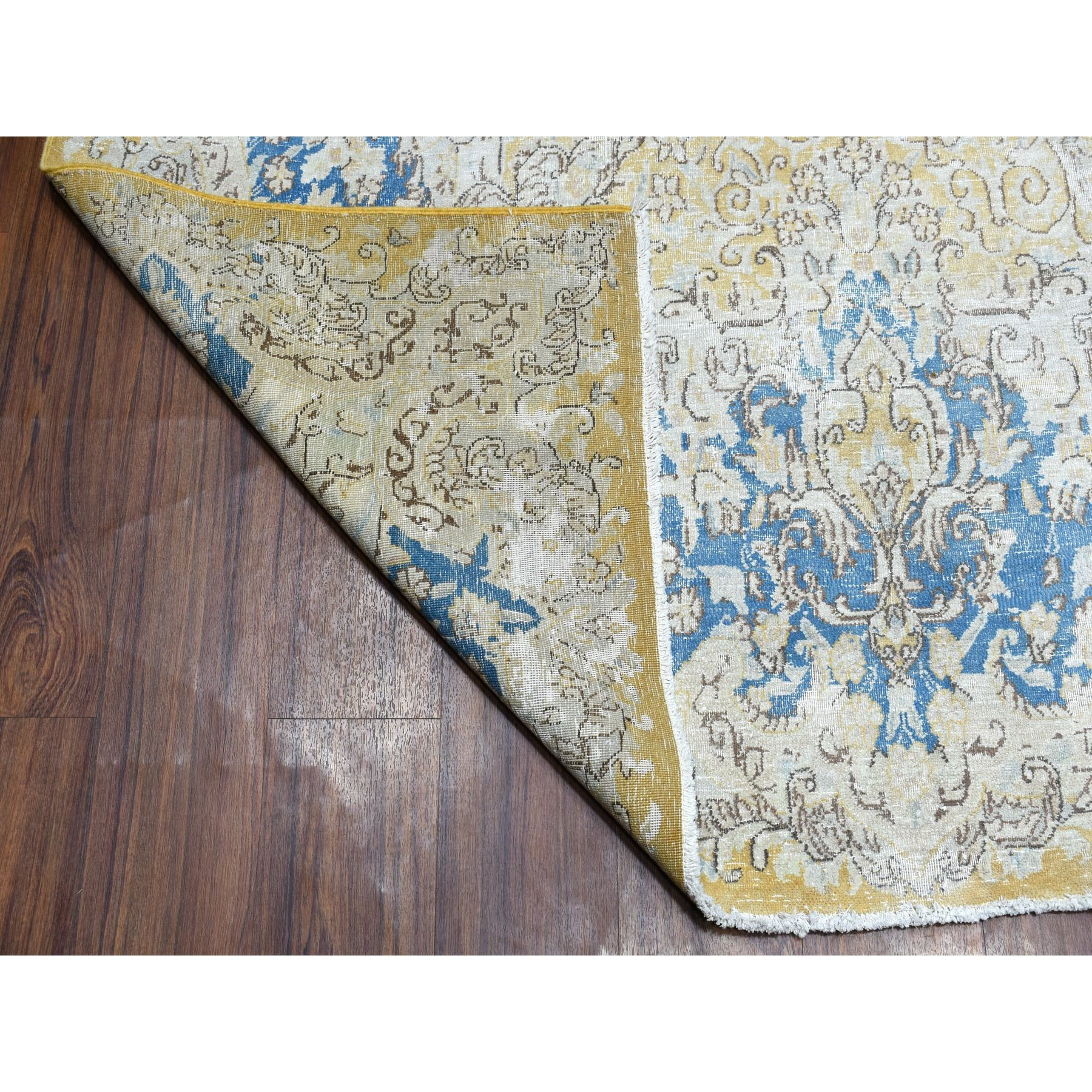 """8'10""""x12'7"""" Gold Persian Kerman Vintage And Worn Down Pure Wool Hand Knotted Oriental Rug"""