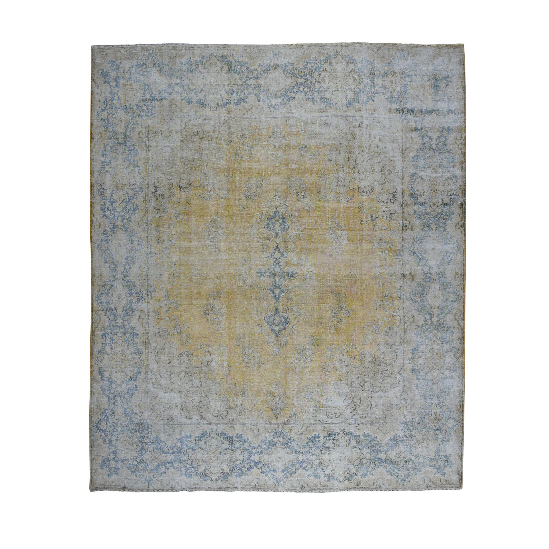 """9'10""""x10'8"""" Squarish Gold Persian Kerman Vintage And Worn Down Pure Wool Hand Knotted Oriental Rug"""