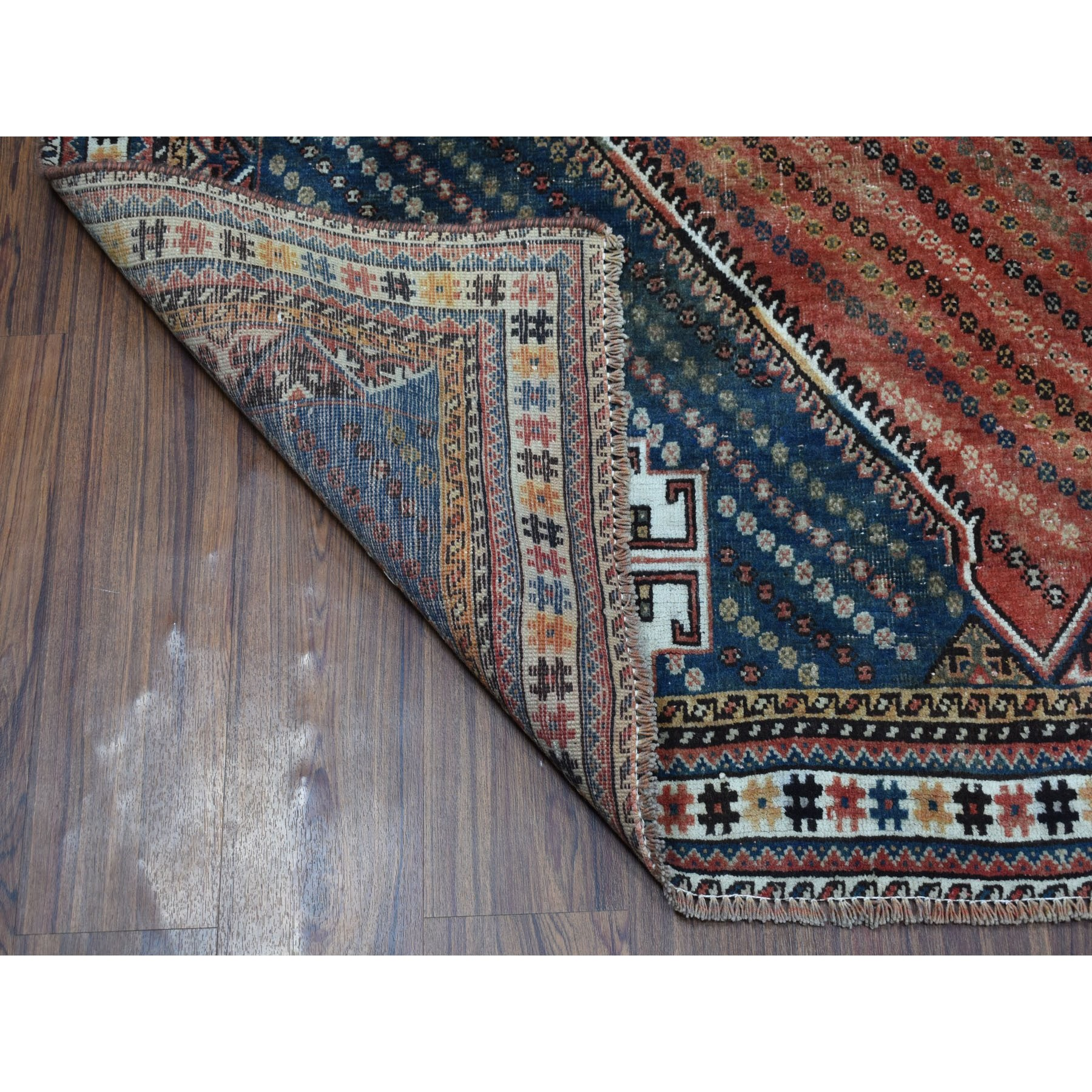 "6'7""x9'10"" Red Vintage And Worn Down Persian Shiraz Hand Knotted Bohemian Rug"