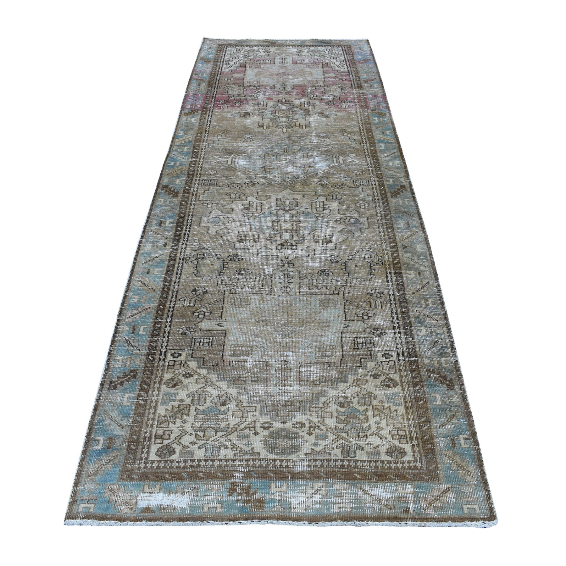 "3'5""x10' Vintage Worn Down Wide Runner Persian Karajeh Hand Knotted Pure Wool Oriental Rug"