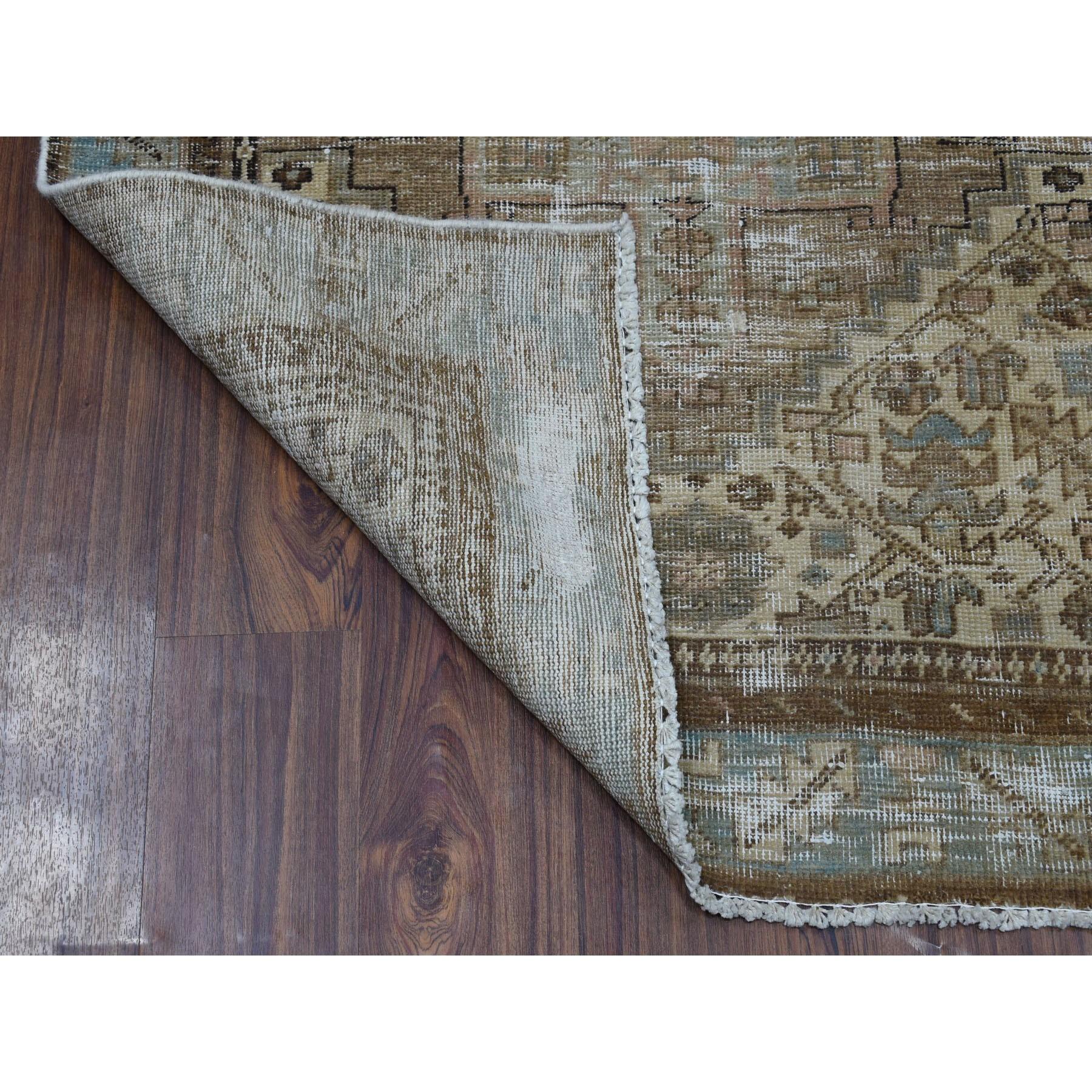 """3'5""""x10' Vintage Worn Wide Runner Persian Karajeh Hand Knotted Pure Wool Oriental Rug"""