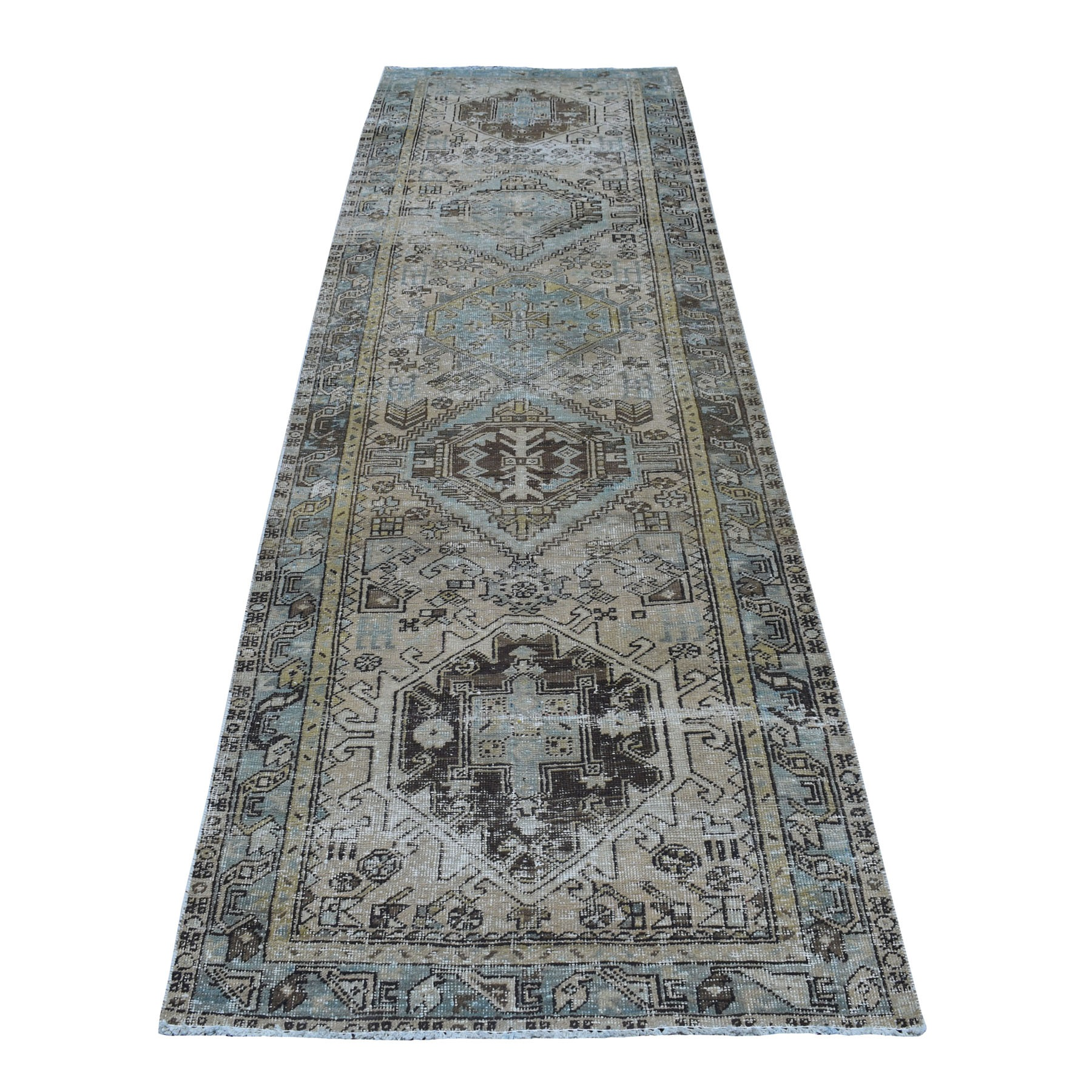 """3'1""""X10' Vintage Worn Runner Persian Karajeh Hand Knotted Pure Wool Oriental Rug moaed09e"""