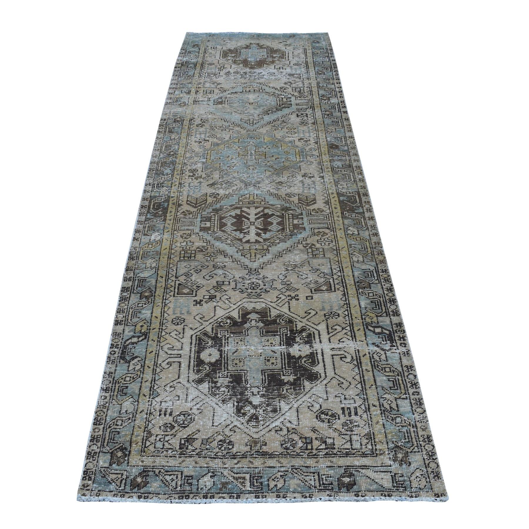 """3'1""""x10' Vintage Worn Runner Persian Karajeh Hand Knotted Pure Wool Oriental Rug"""