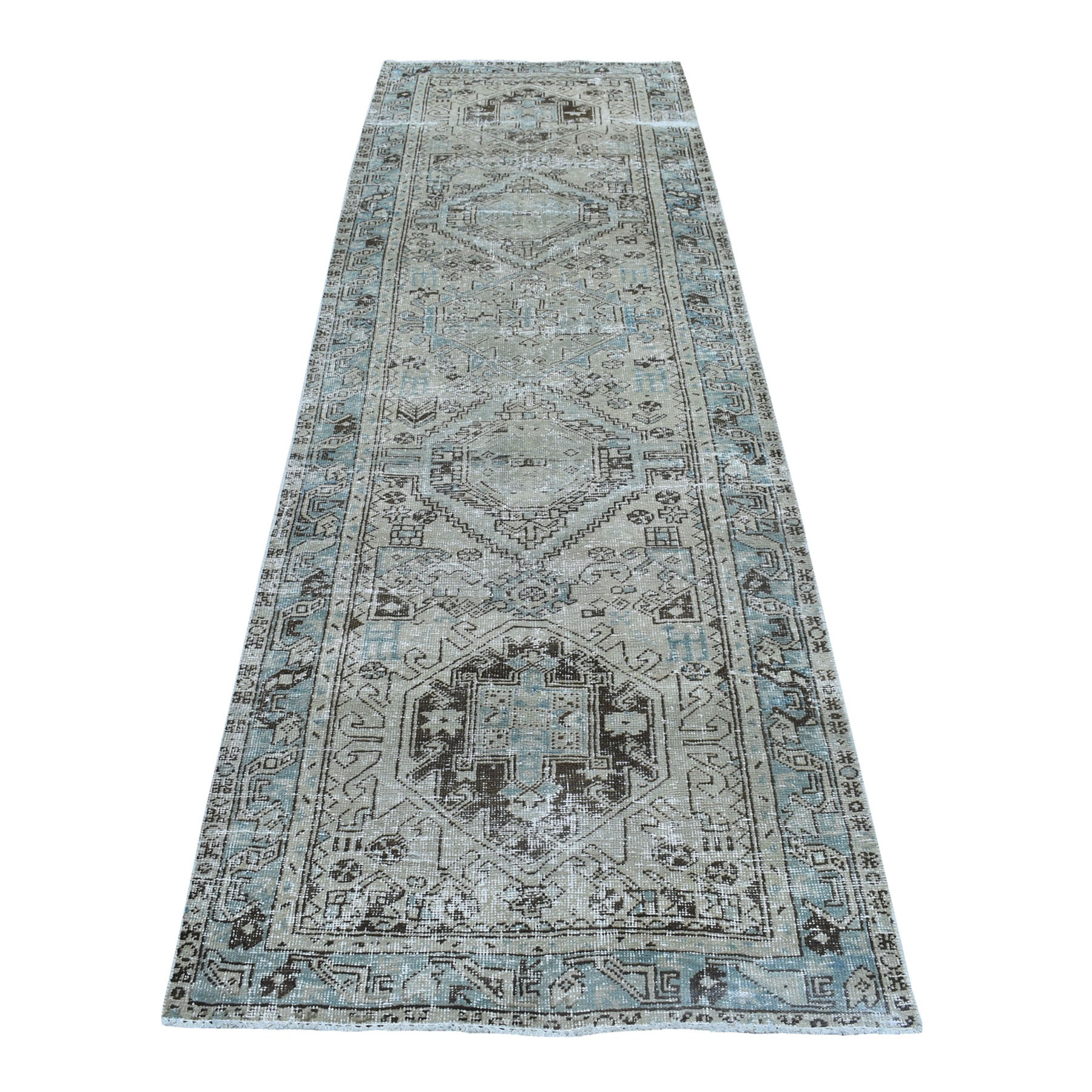 "3'1""x10'5"" Gray Vintage Worn Runner Persian Karajeh Hand Knotted Pure Wool Oriental Rug"
