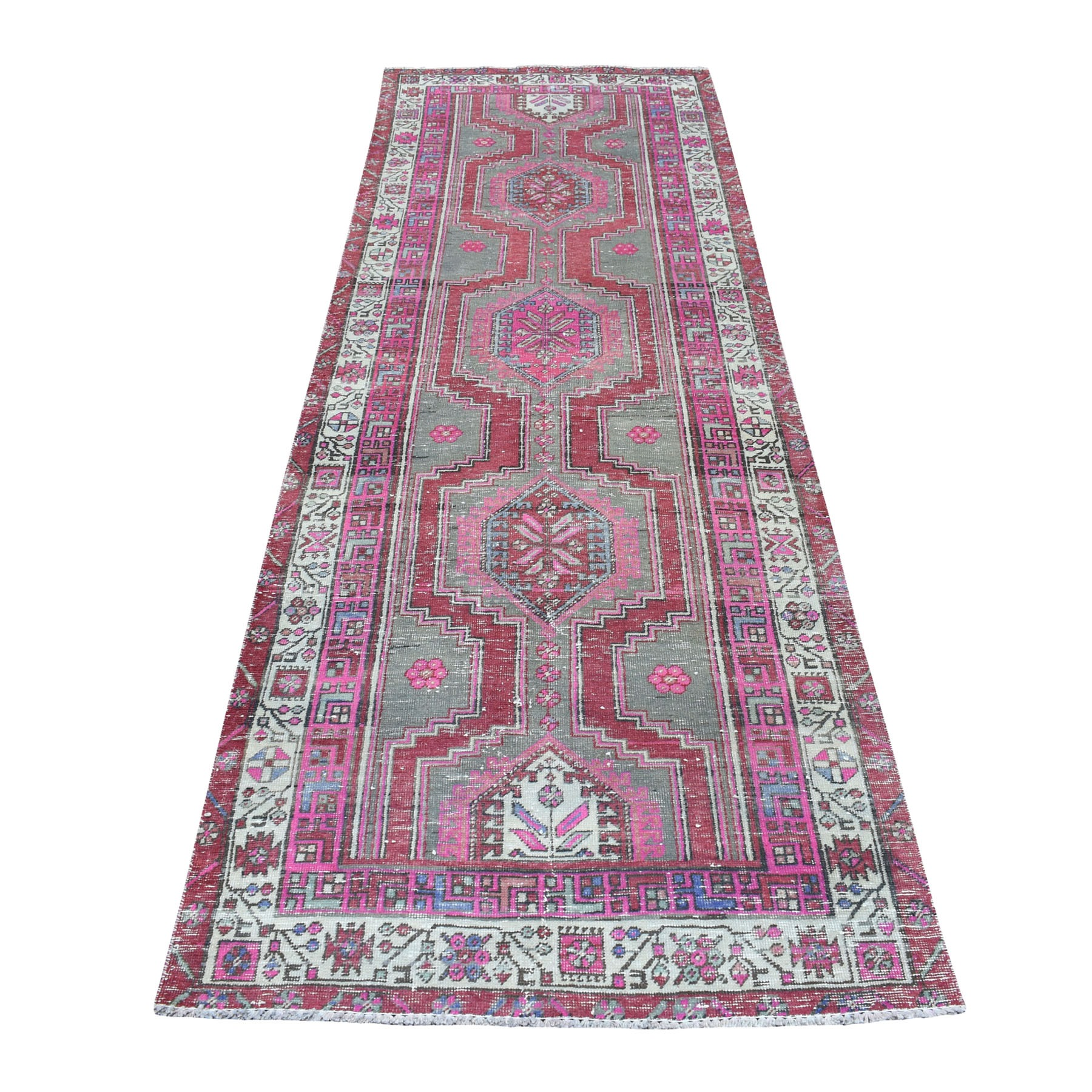 "3'4""X10'3"" Pink Vintage Worn Runner Persian Serab Pure Wool Hand Knotted Oriental Rug moaed098"
