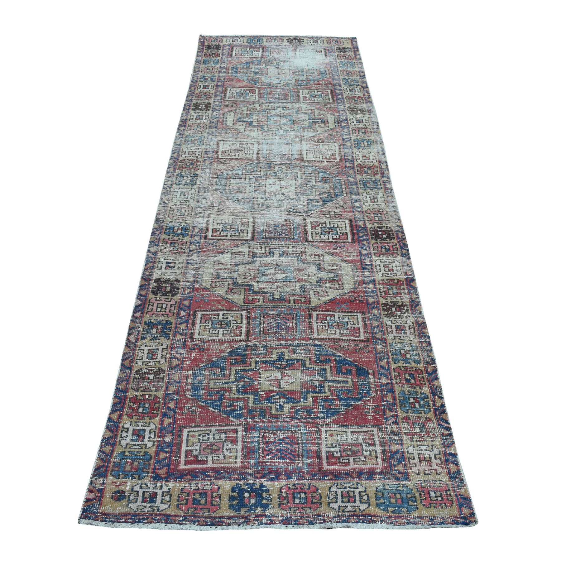 "3'2""x10'2"" Vintage Worn Wide Runner Northwest Persian Karajeh Hand Knotted Pure Wool Oriental Rug"