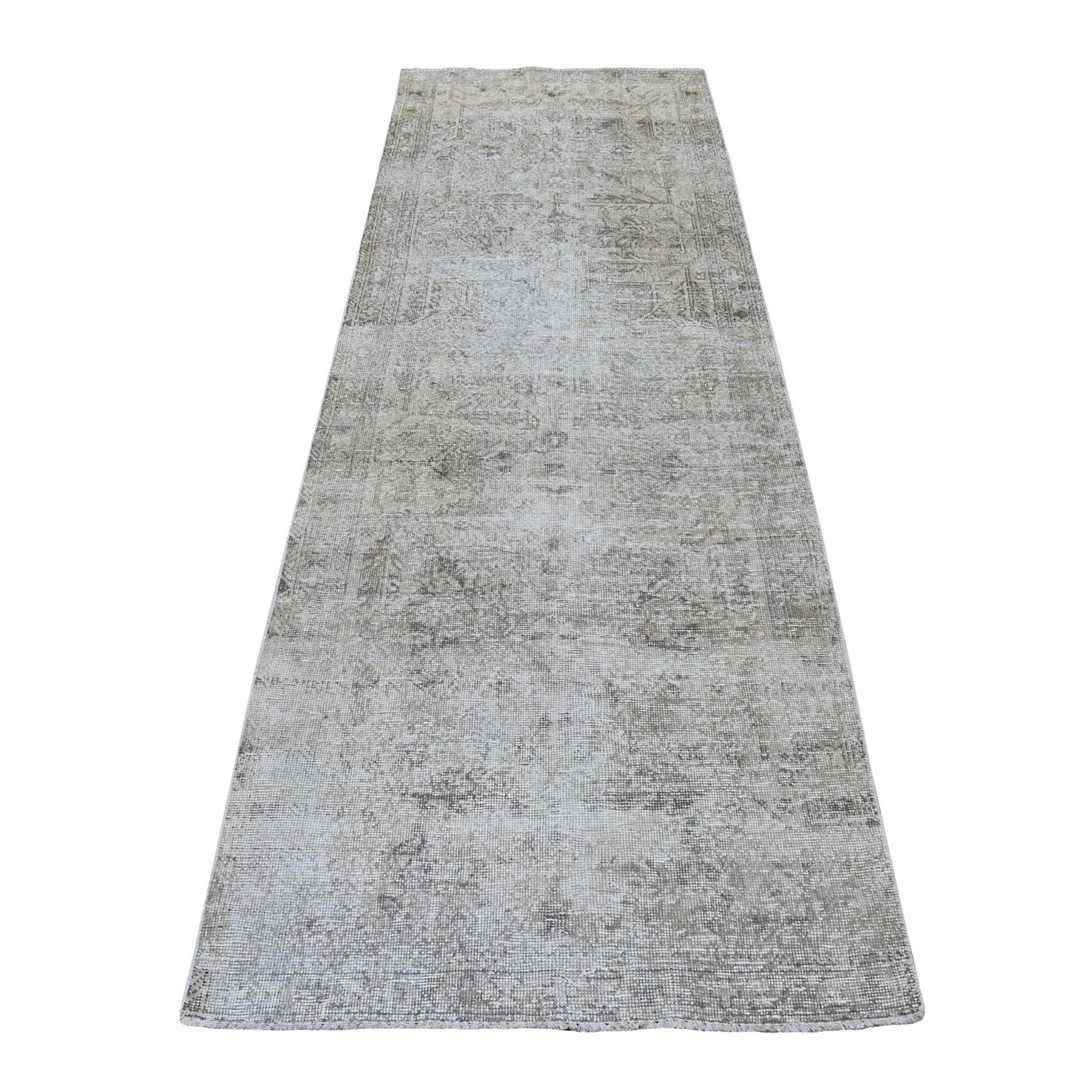 """3'2""""X9'8"""" Vintage And Worn Down Persian Shiraz Runner Hand Knotted Bohemian Rug moaeda00"""