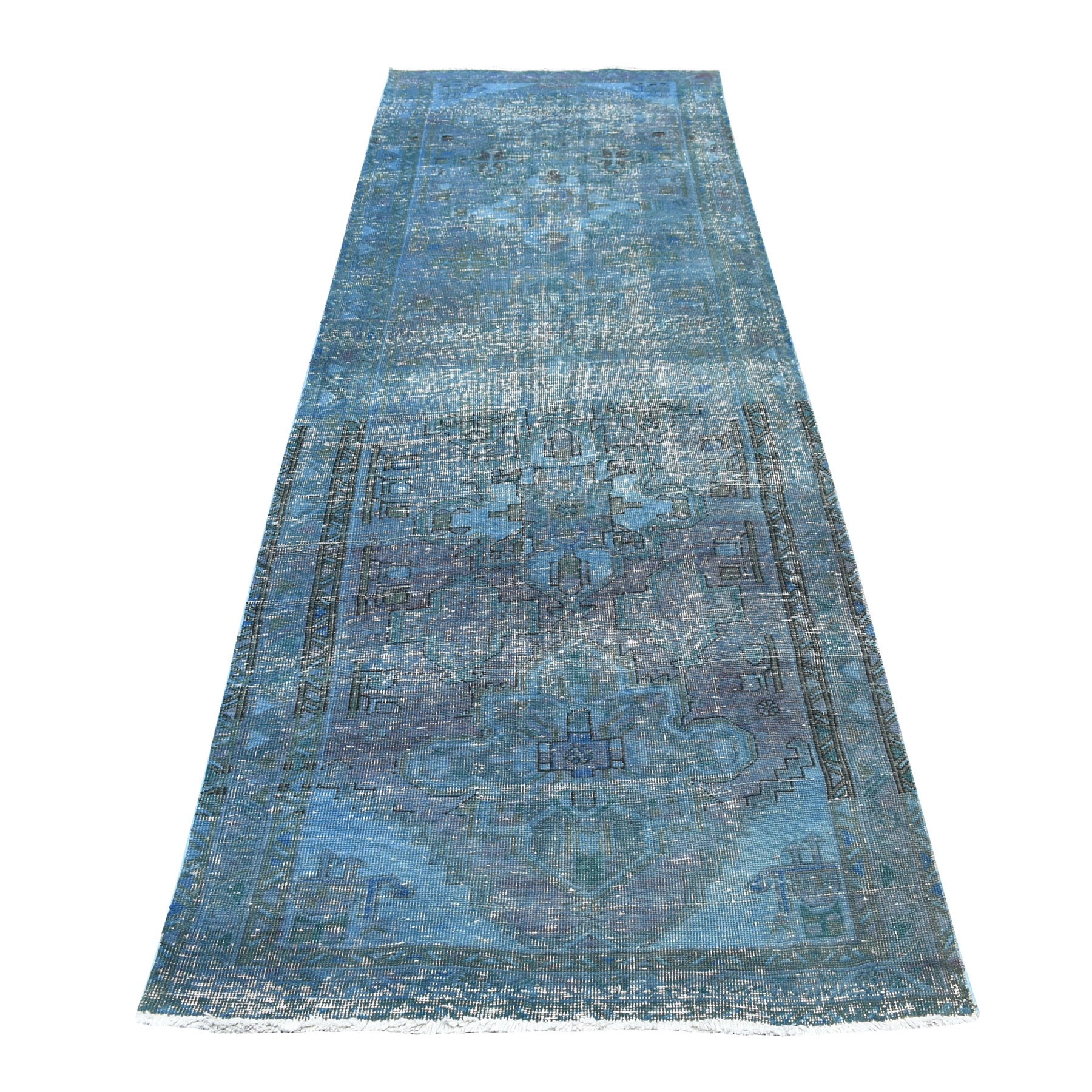 "3'5""X10'3"" Blue Vintage And Worn Down Wide Runner Overdyed Persian Qashqai Hand Knotted Bohemian Rug moaeda0a"