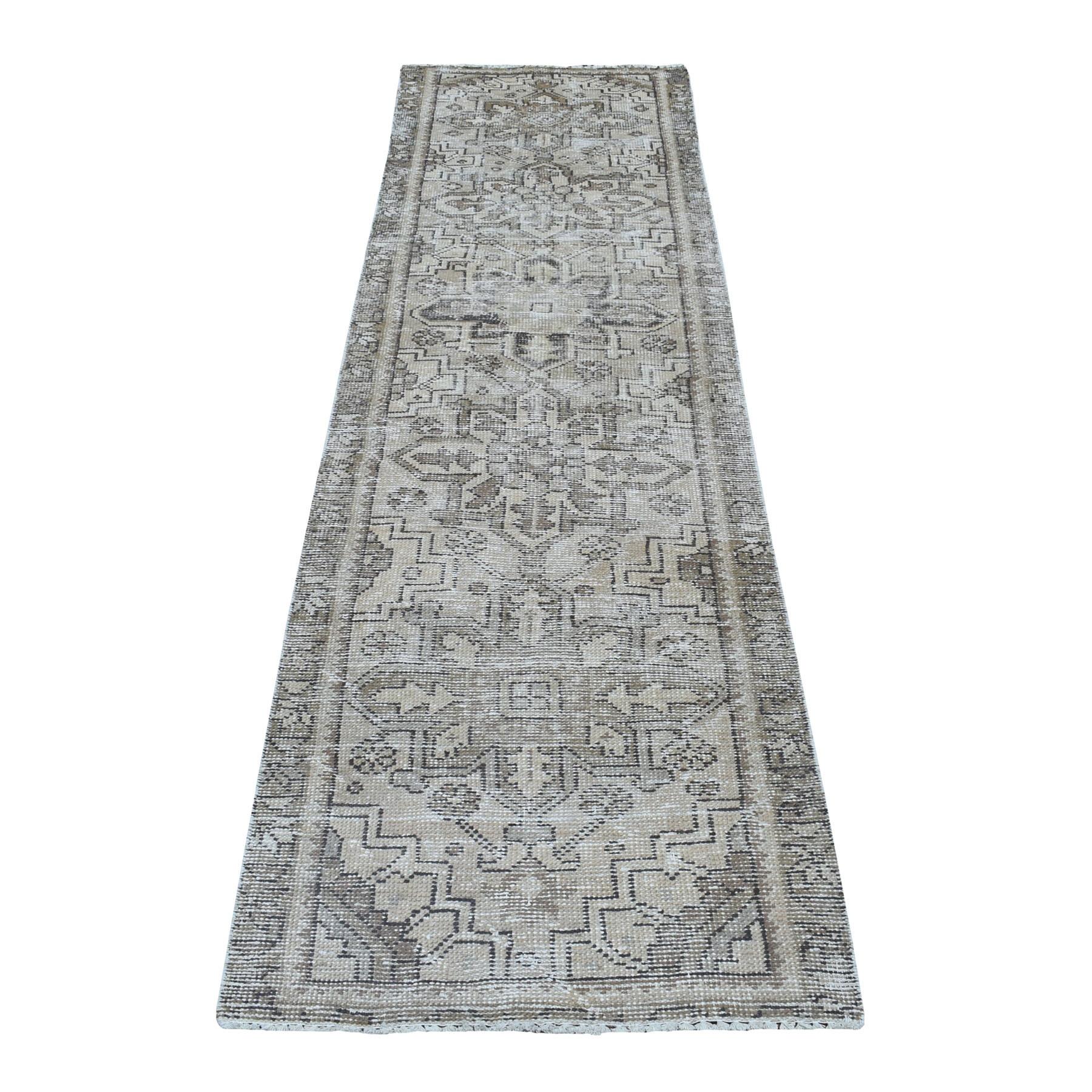 """2'8""""X9'6"""" Vintage Heriz Worn Runner Persian Karajeh Hand Knotted Pure Wool Oriental Rug moaeda0d"""