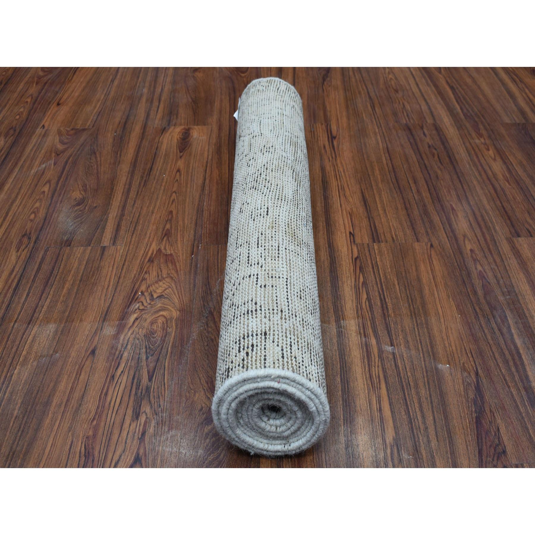 """2'8""""x9'6"""" Vintage Heriz Worn Runner Persian Karajeh Hand Knotted Pure Wool Oriental Rug"""