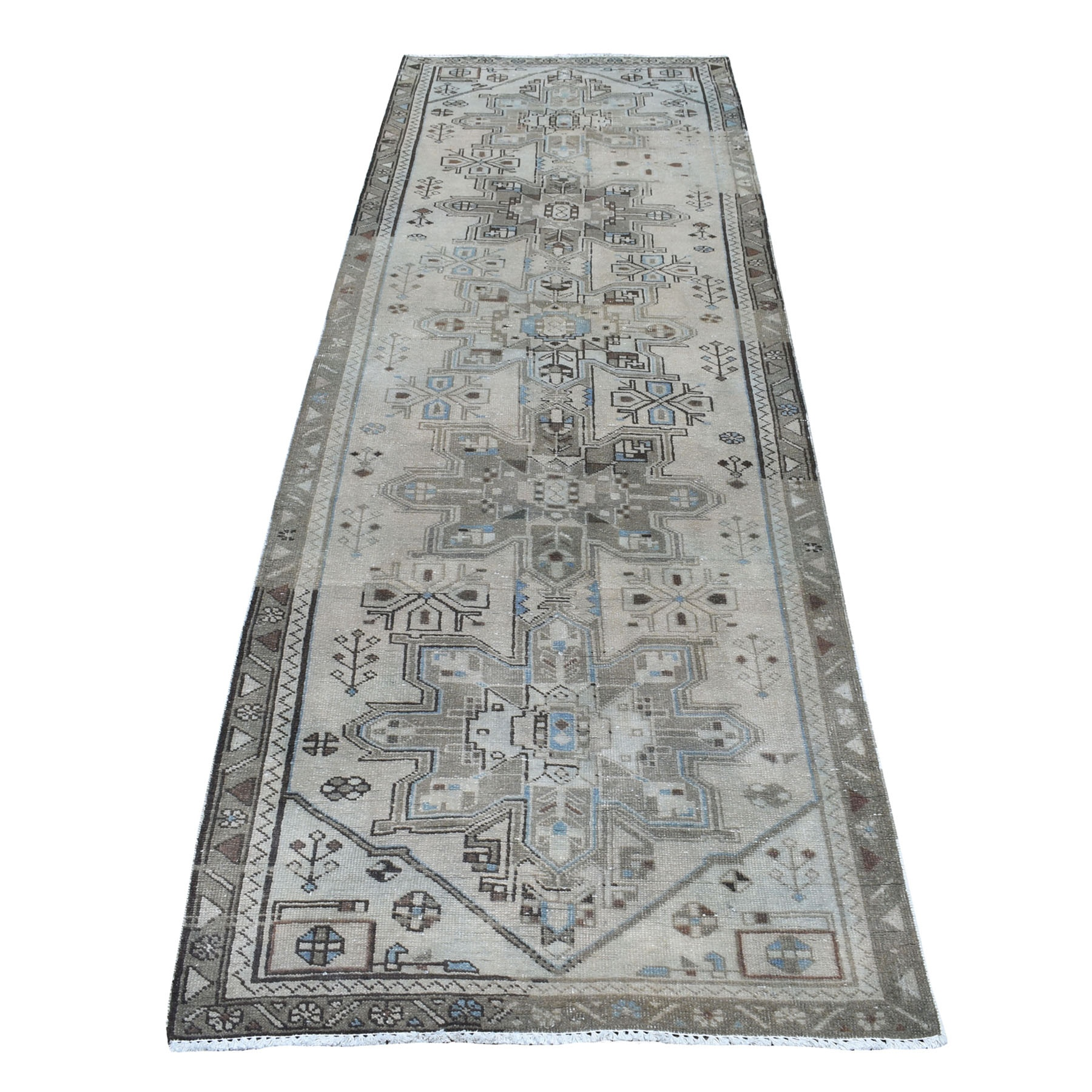"""3'2""""X9'9"""" Vintage Worn Down Persian Karajeh Runner Hand Knotted Pure Wool Oriental Rug moaeda08"""
