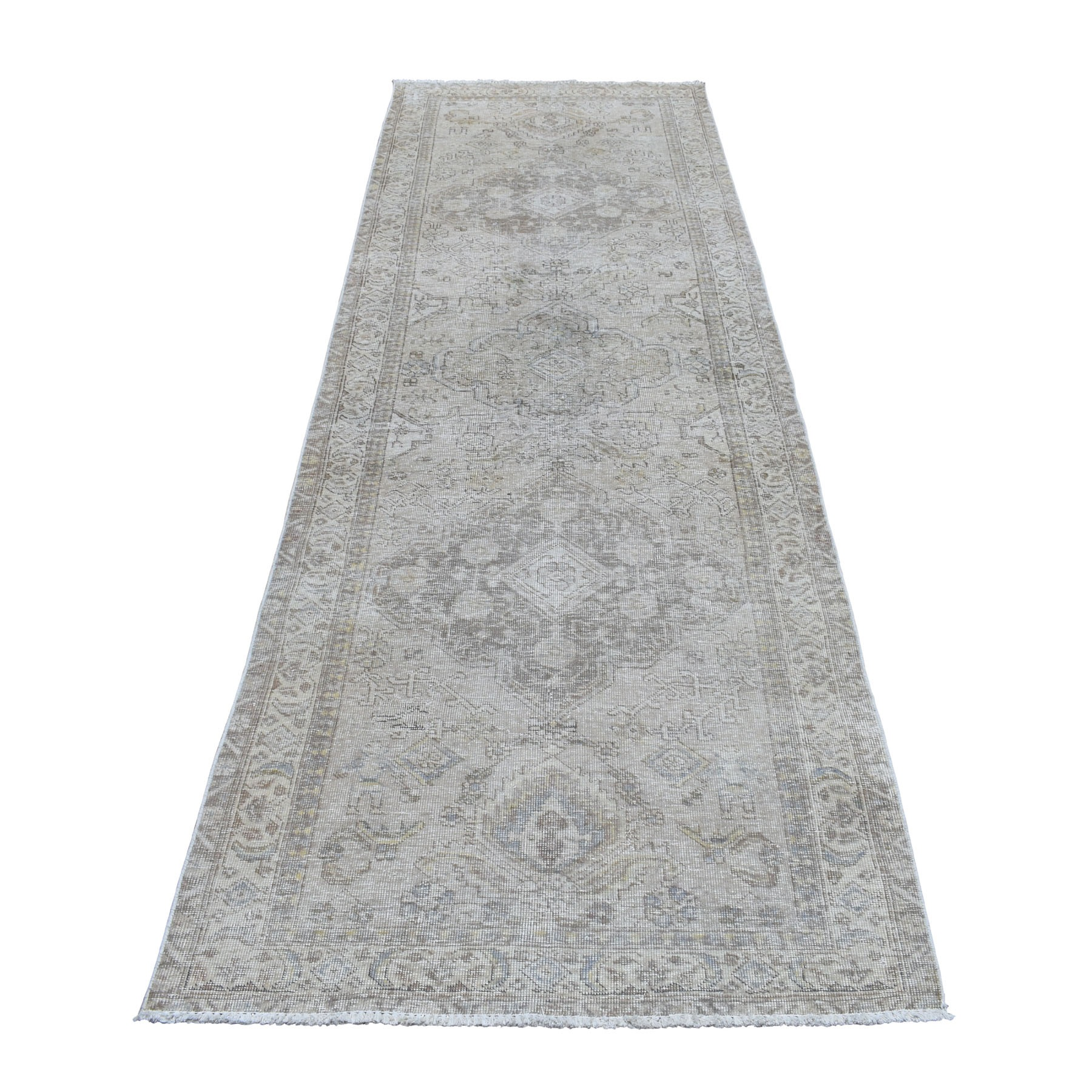"3'6""X10'6"" Vintage And Worn Down Distressed Colors Persian Shiraz Wide Runner Hand Knotted Bohemian Rug moaeda09"