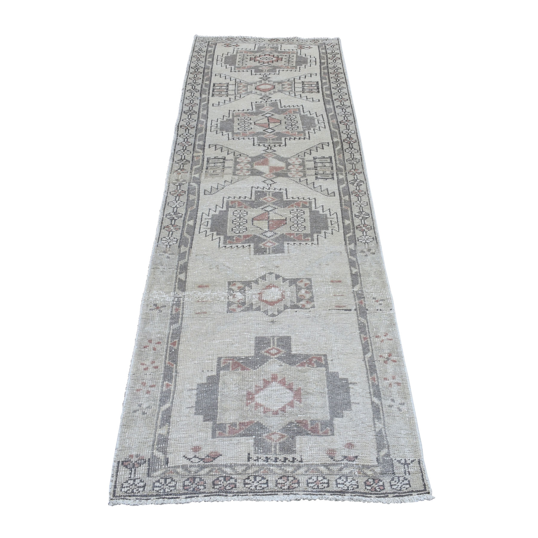 """2'9""""X9'3"""" Vintage And Worn Down Distressed Colors Persian Qashqai Runner Hand Knotted Bohemian Rug moaedaa0"""