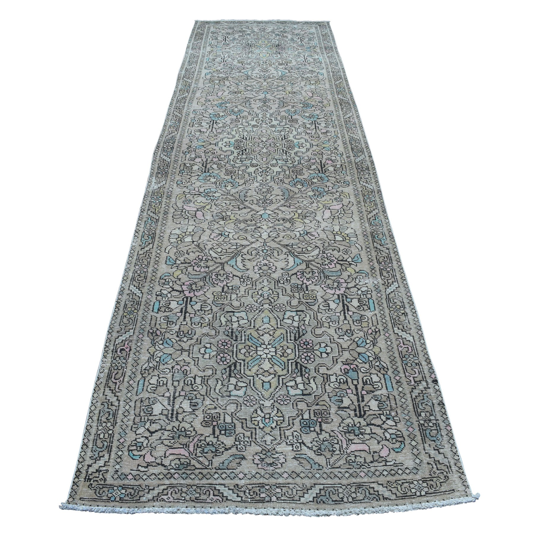 "3'7""X13'10"" Vintage And Worn Down Distressed Colors Persian Shiraz Wide Runner Hand Knotted Bohemian Rug moaedaac"