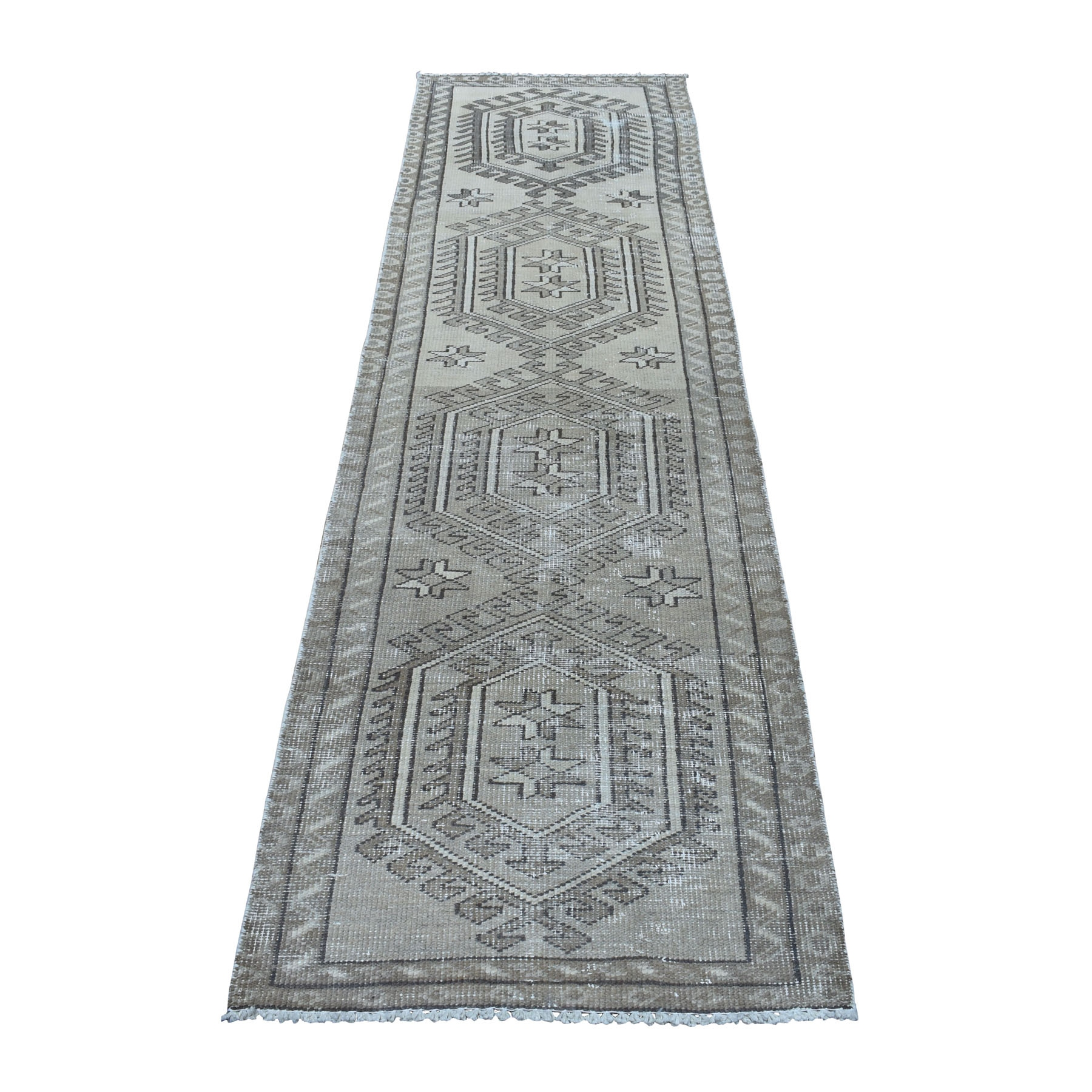 "2'8""x9'8"" Gray Vintage Worn Runner Persian Serab Pure Wool Hand Knotted Oriental Rug"