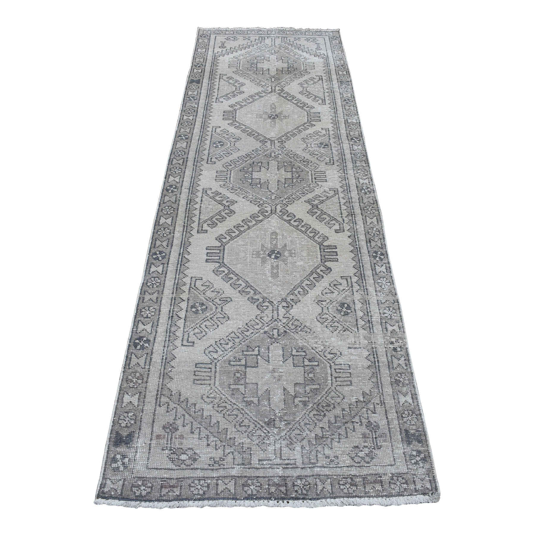 "3'x9'5"" Vintage Silver Wash Worn Runner Persian Karajeh Pure Wool Hand Knotted Oriental Rug"