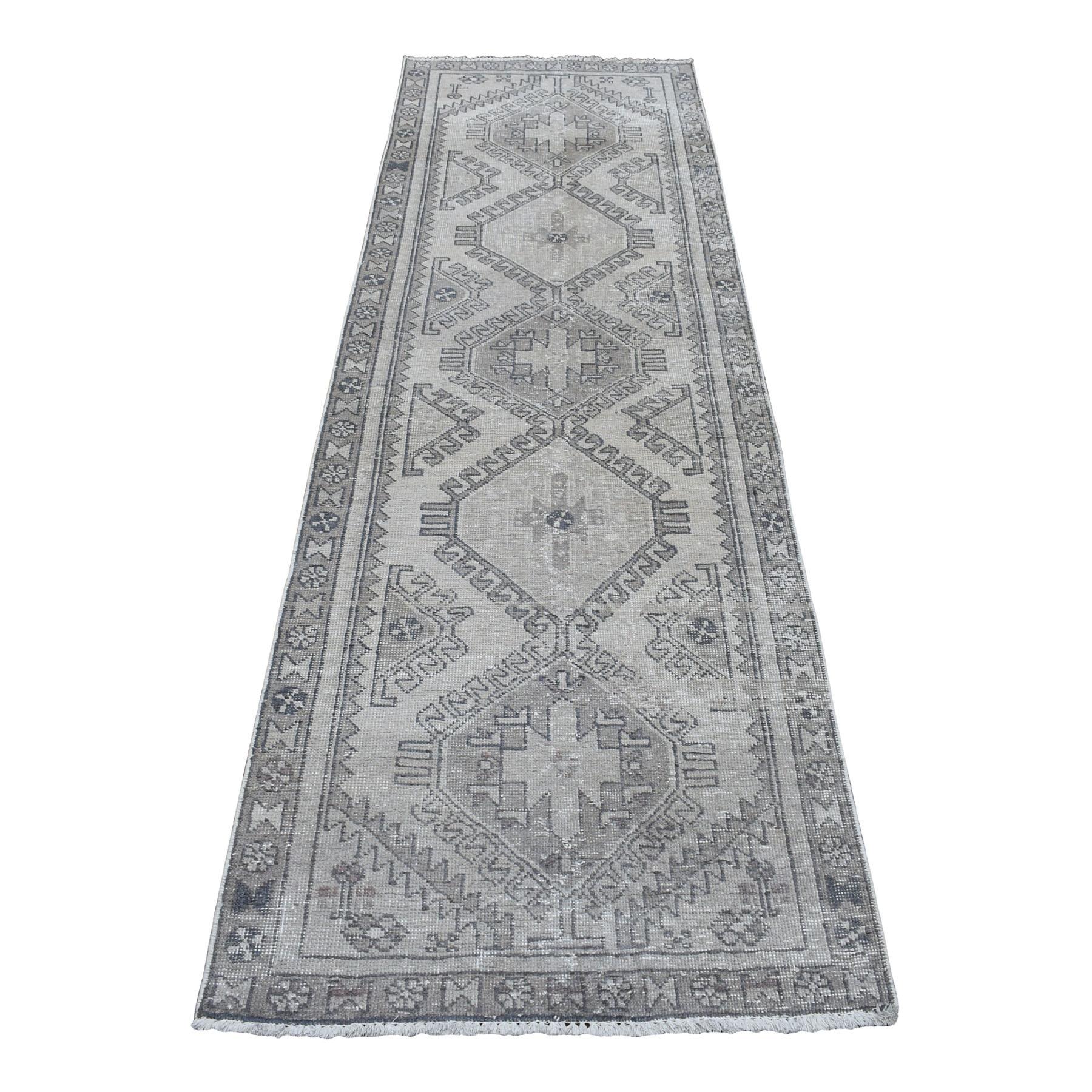 """3'X9'5"""" Vintage Silver Wash Worn Runner Persian Karajeh Pure Wool Hand Knotted Oriental Rug moaedaae"""