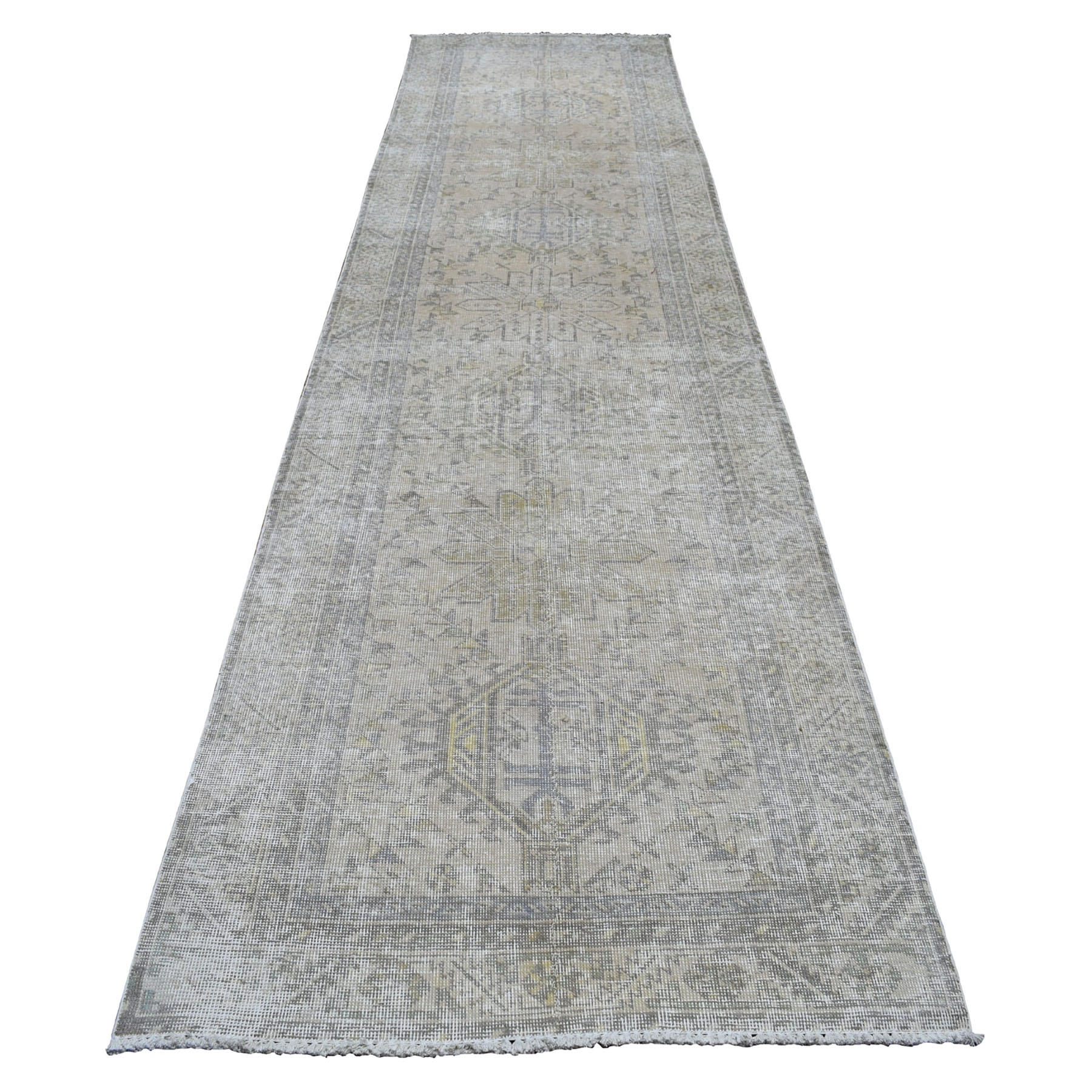 "3'7""x14'5"" Vintage Silver Wash Wide XL Runner Persian Karajeh Pure Wool Hand Knotted Oriental Rug"