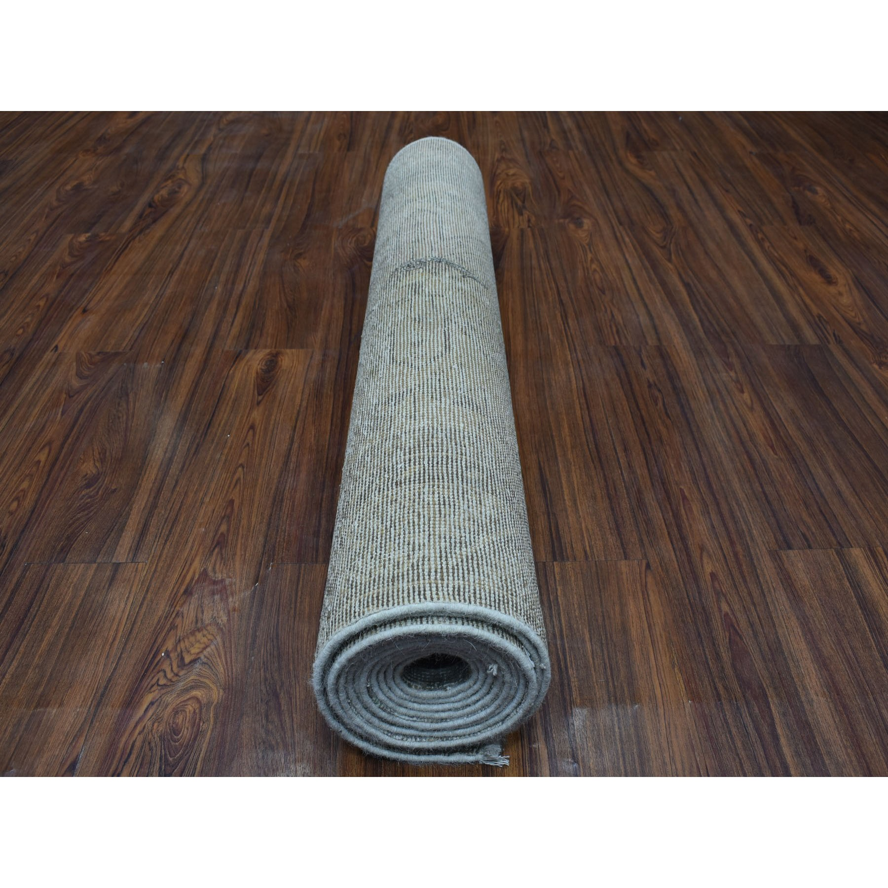 """3'7""""x14'5"""" Vintage Silver Wash Wide XL Runner Persian Karajeh Pure Wool Hand Knotted Oriental Rug"""