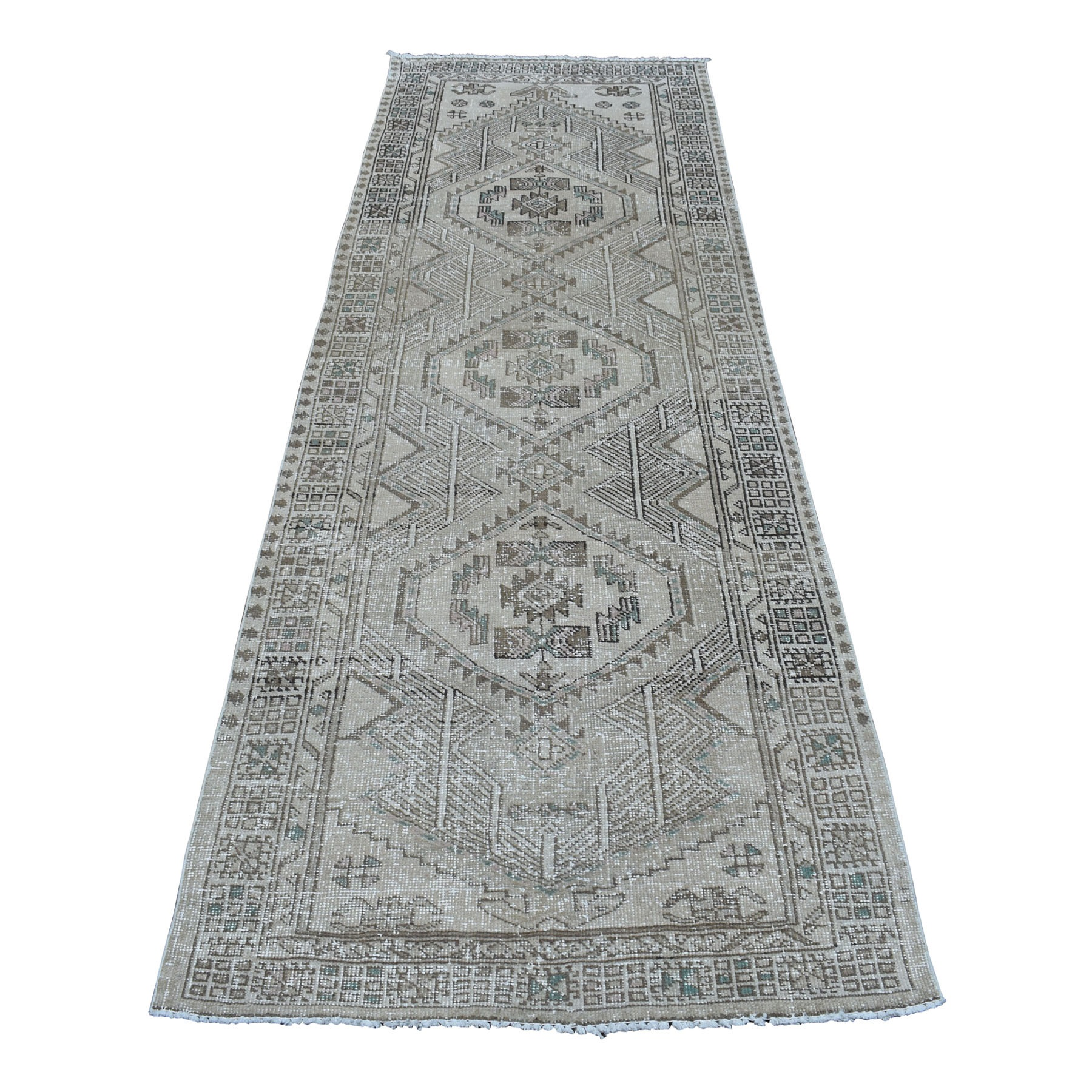 "3'4""X9'7"" Silver Wash Vintage Worn Runner Serab Persian Karajeh Pure Wool Hand Knotted Oriental Rug moaedaa8"