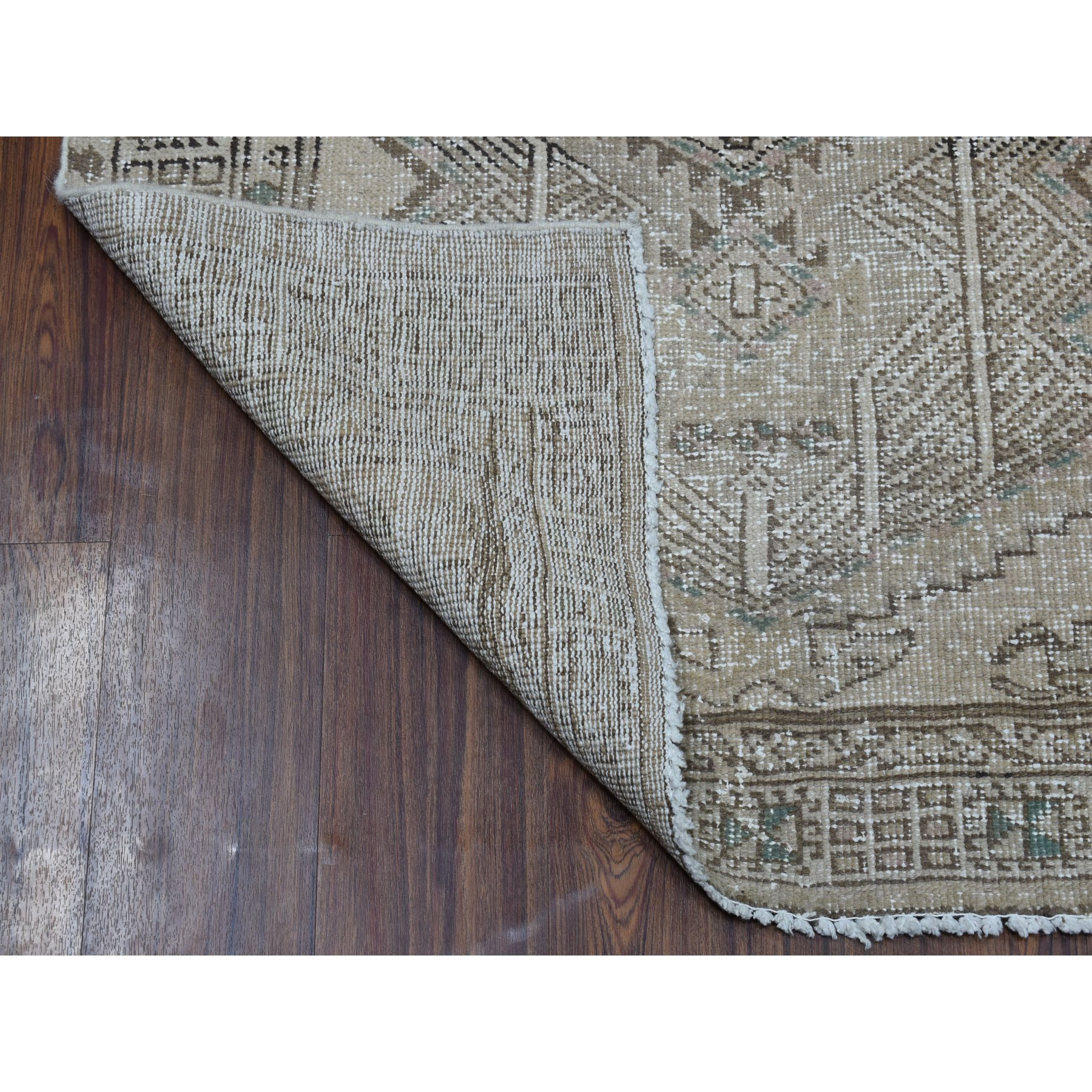"3'4""x9'7"" Silver Wash Vintage Worn Runner Persian Serab Pure Wool Hand Knotted Oriental Rug"
