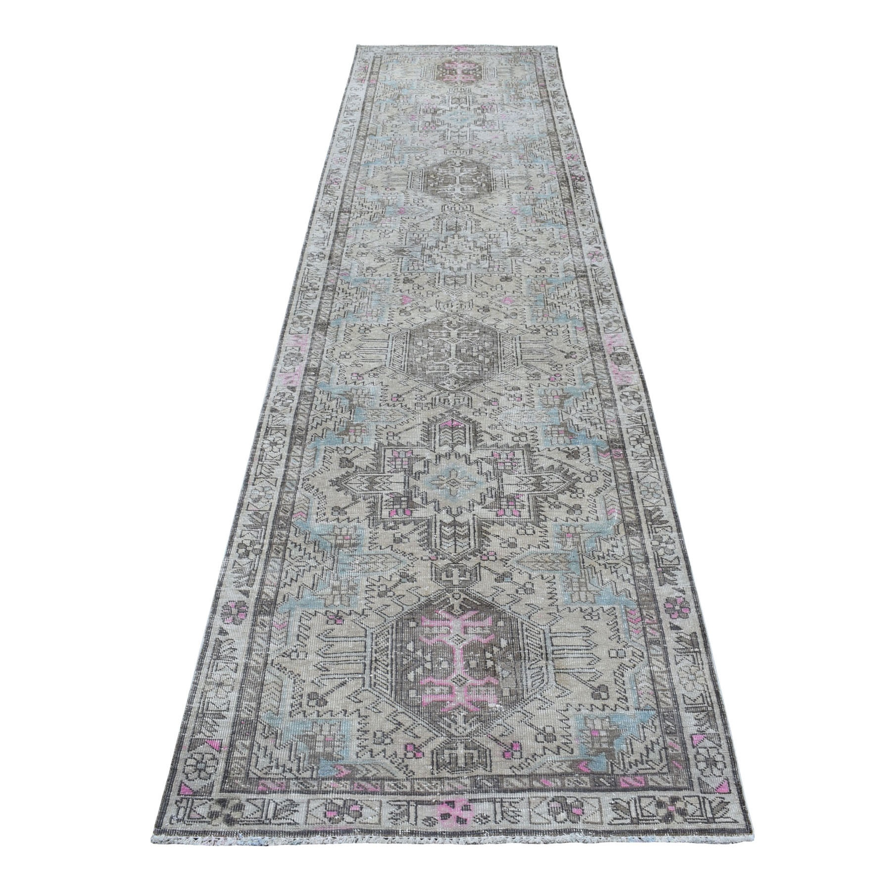 "3'1""x12'10"" Vintage Worn Runner With Pop Of Color Persian Karajeh Pure Wool Hand Knotted Oriental Rug"
